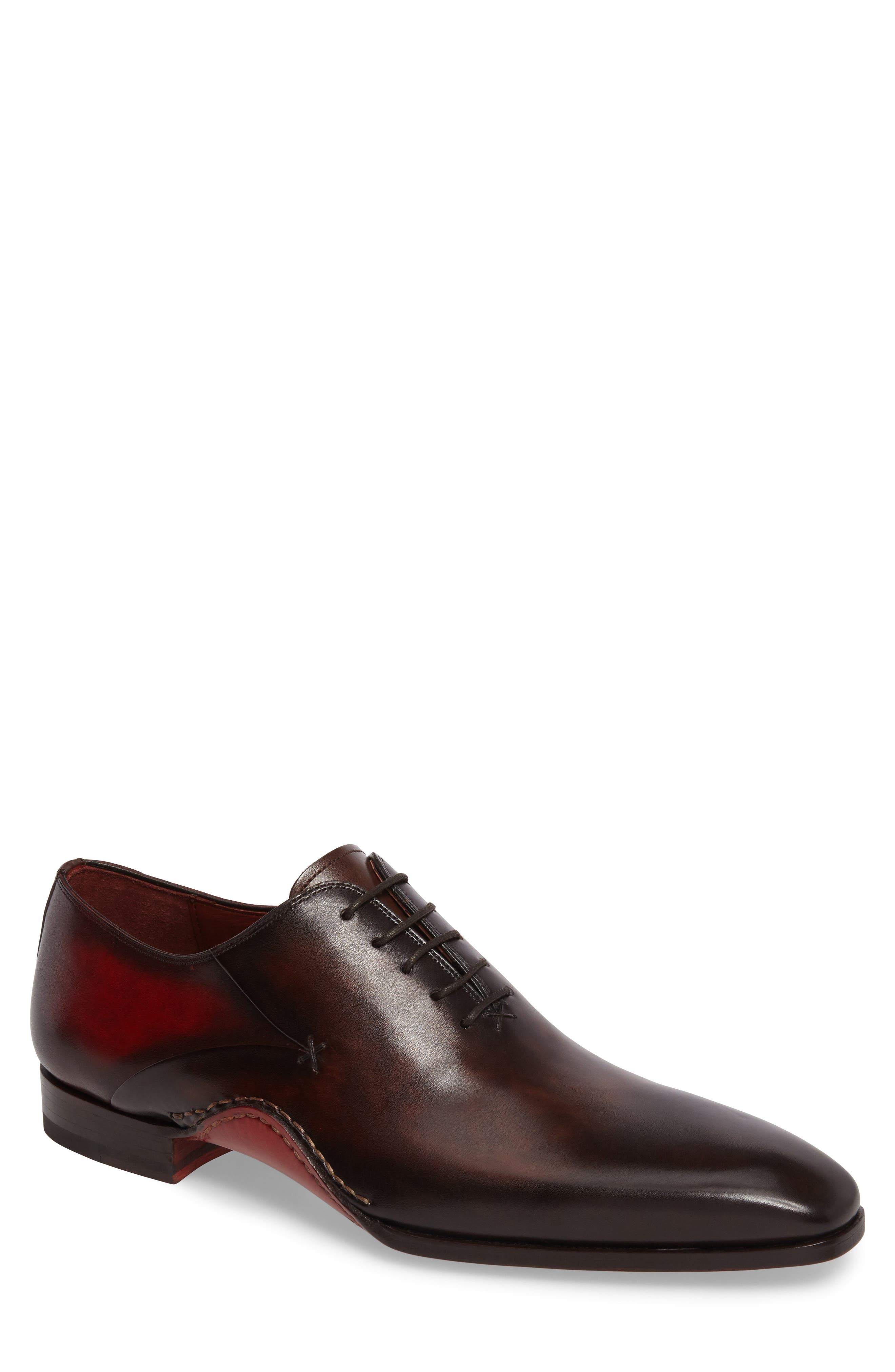 MAGNANNI, Cantabria Plain Toe Oxford, Main thumbnail 1, color, BROWN/ RED LEATHER