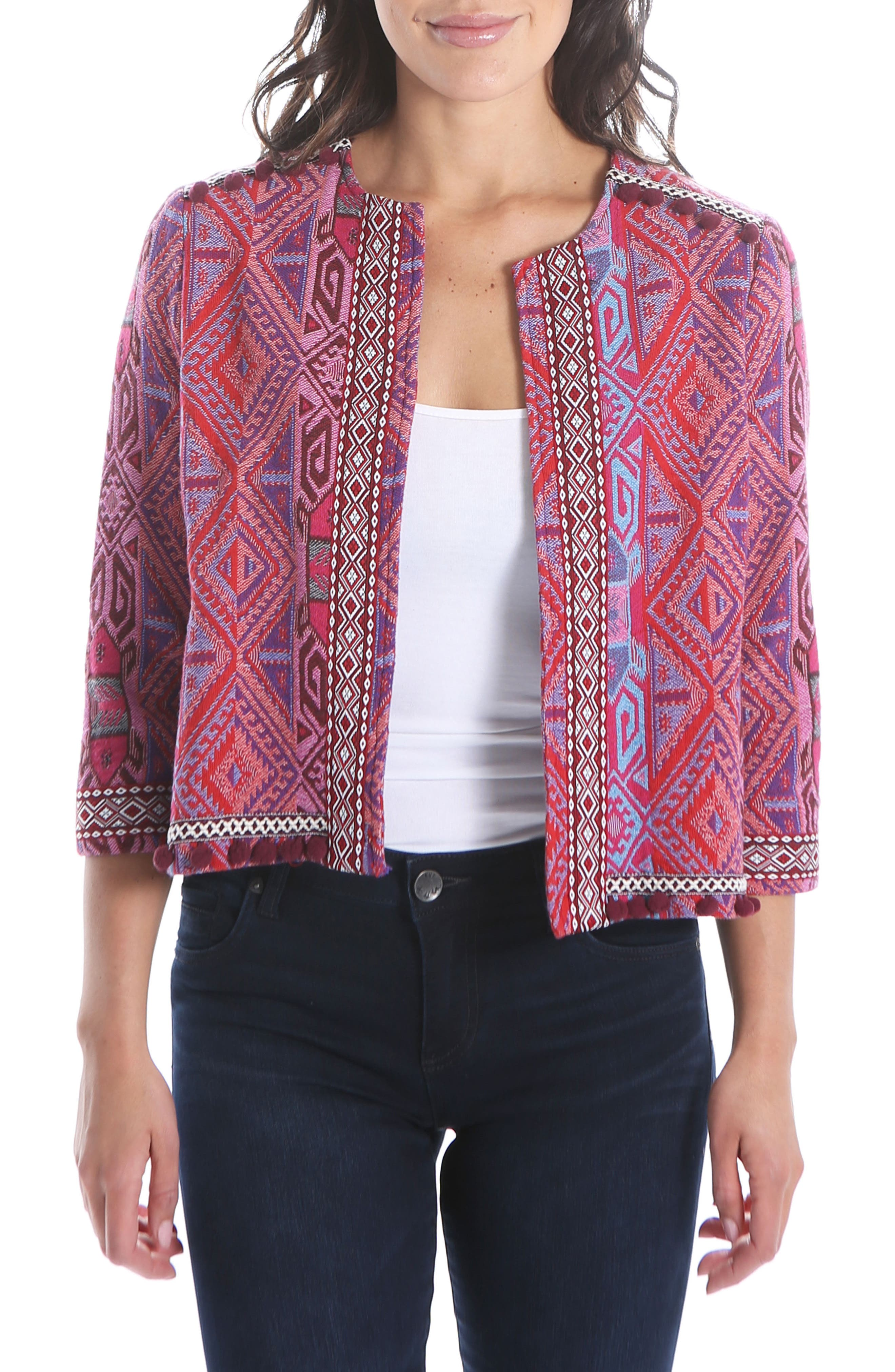 KUT FROM THE KLOTH Gwyneth Embellished Collarless Jacket, Main, color, BERRY/ WINE