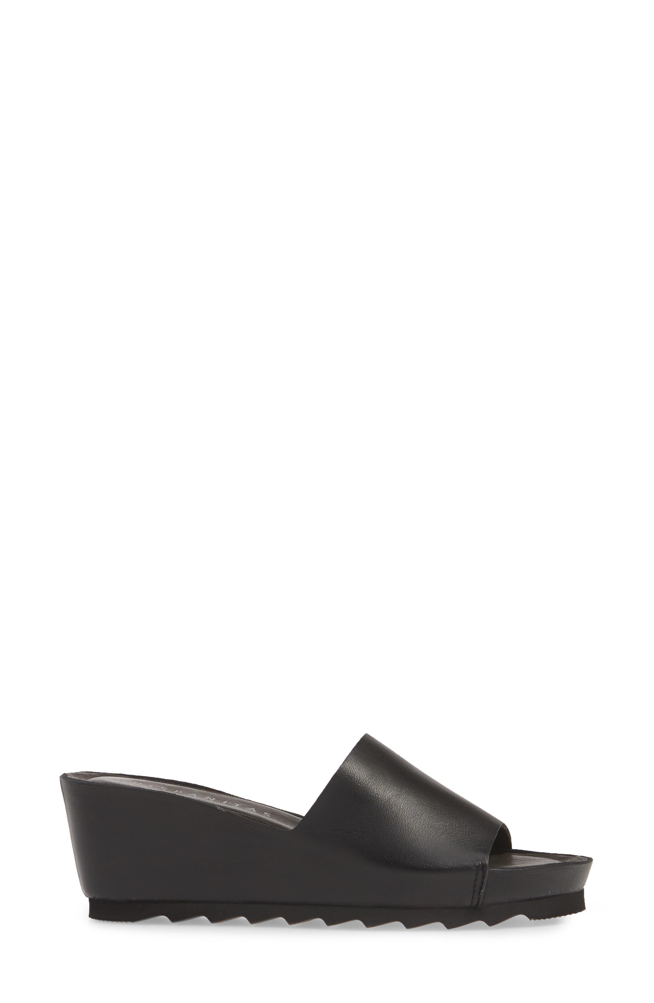 HISPANITAS, Vega Slide Sandal, Alternate thumbnail 3, color, BLACK LEATHER