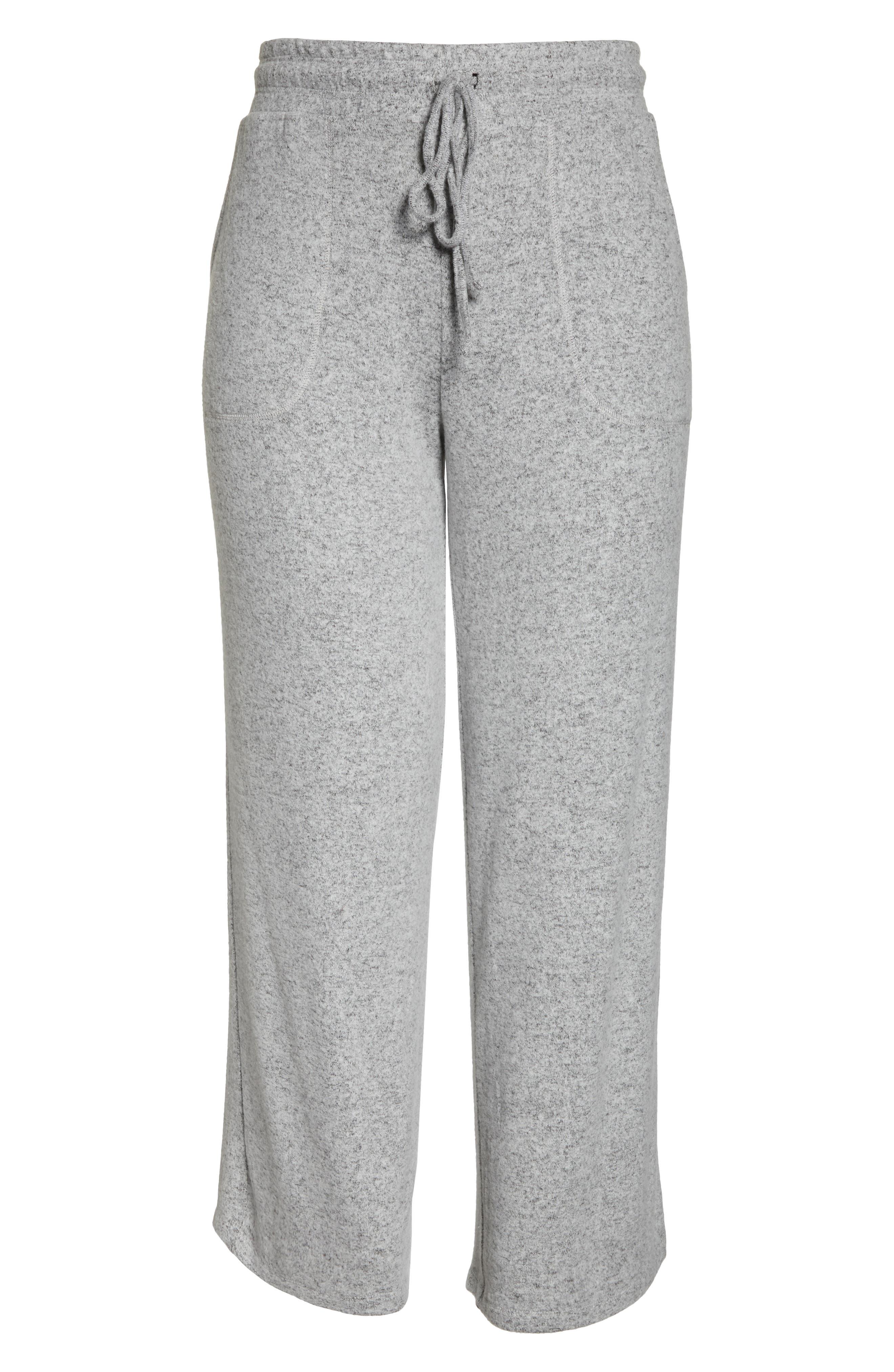 LEMON TART, Norah Knit Lounge Pants, Alternate thumbnail 7, color, HEATHER GREY