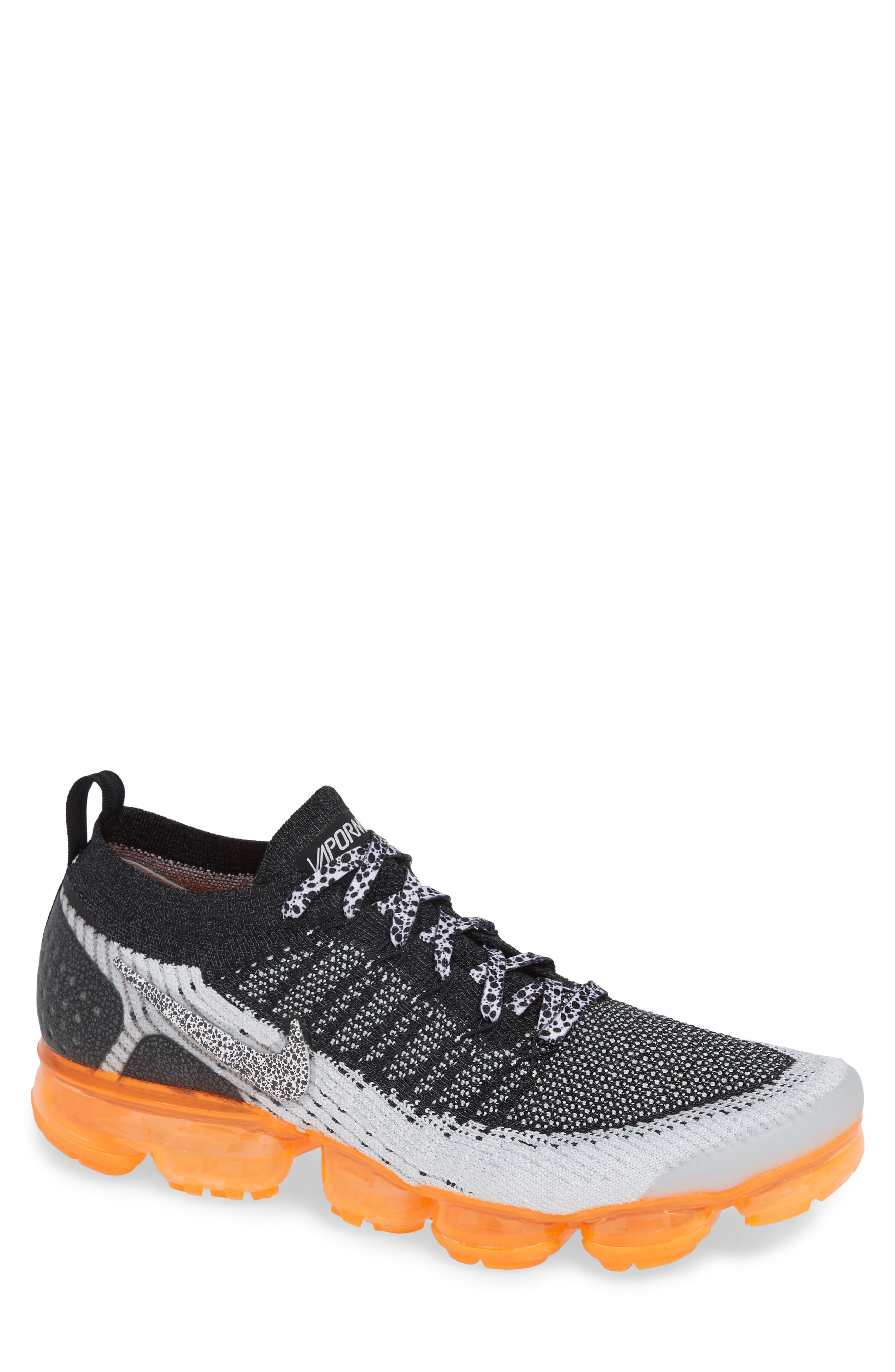 NIKE, Air VaporMax Flyknit 2 Running Shoe, Main thumbnail 1, color, WHITE/ BLACK/ TOTAL ORANGE