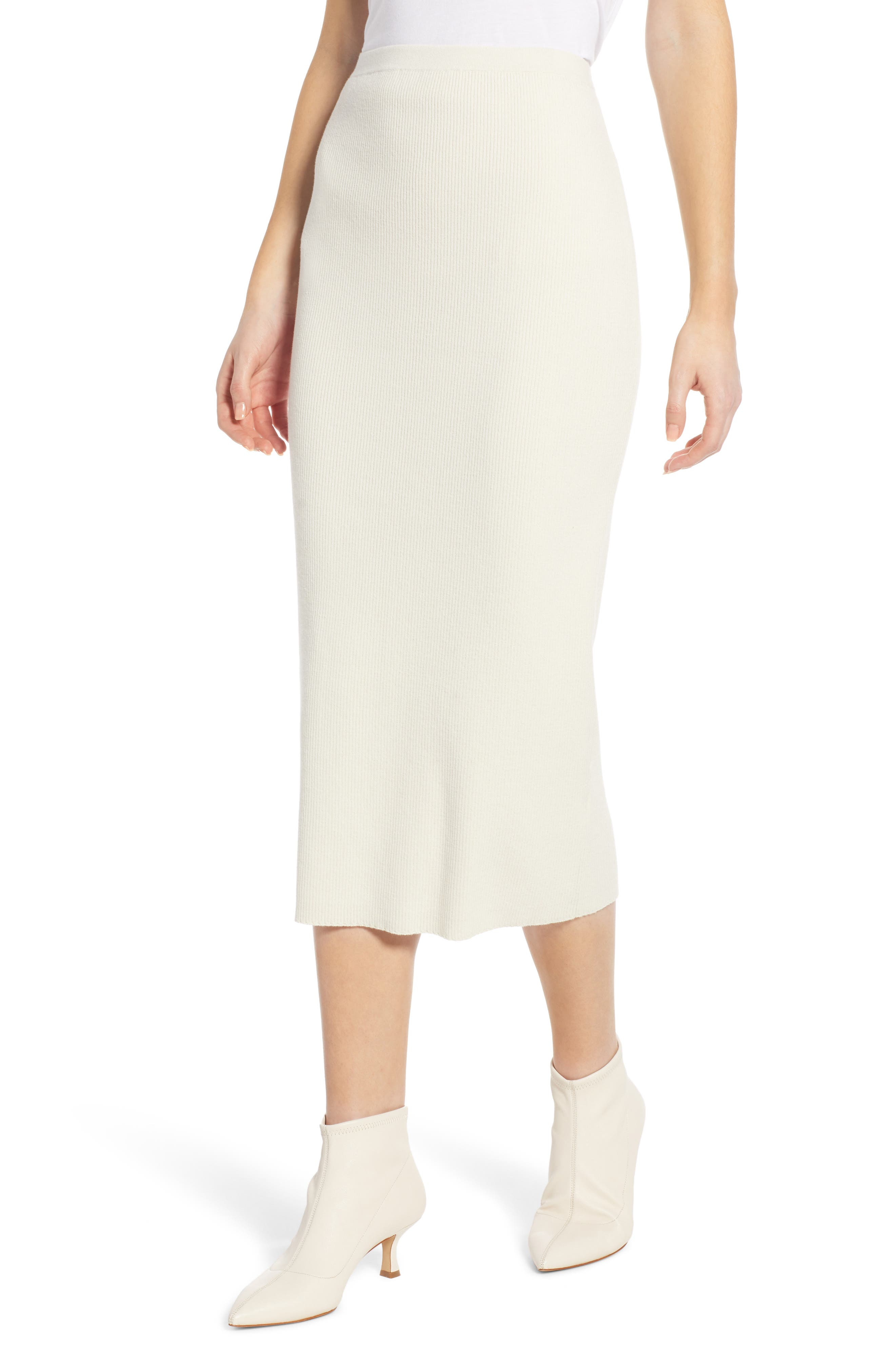SOMETHING NAVY Rib Sweater Midi Skirt, Main, color, 900