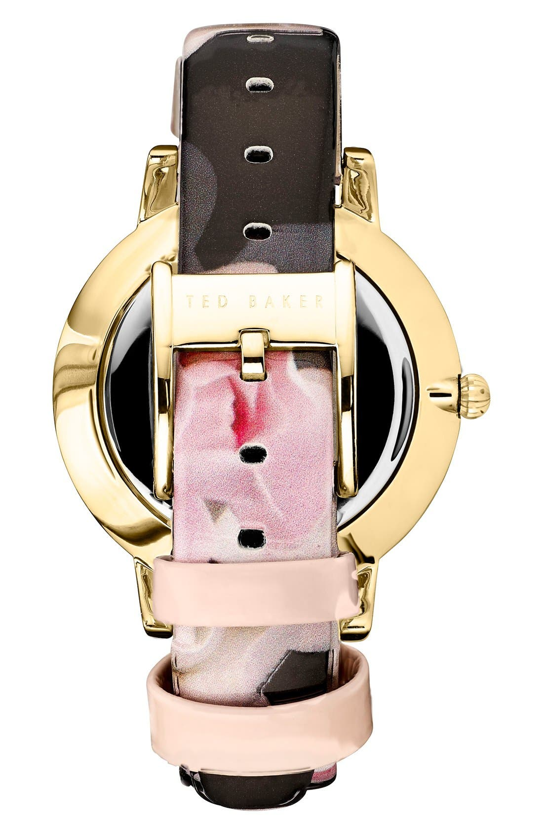 TED BAKER LONDON, Leather Strap Watch, 40mm, Alternate thumbnail 2, color, 001