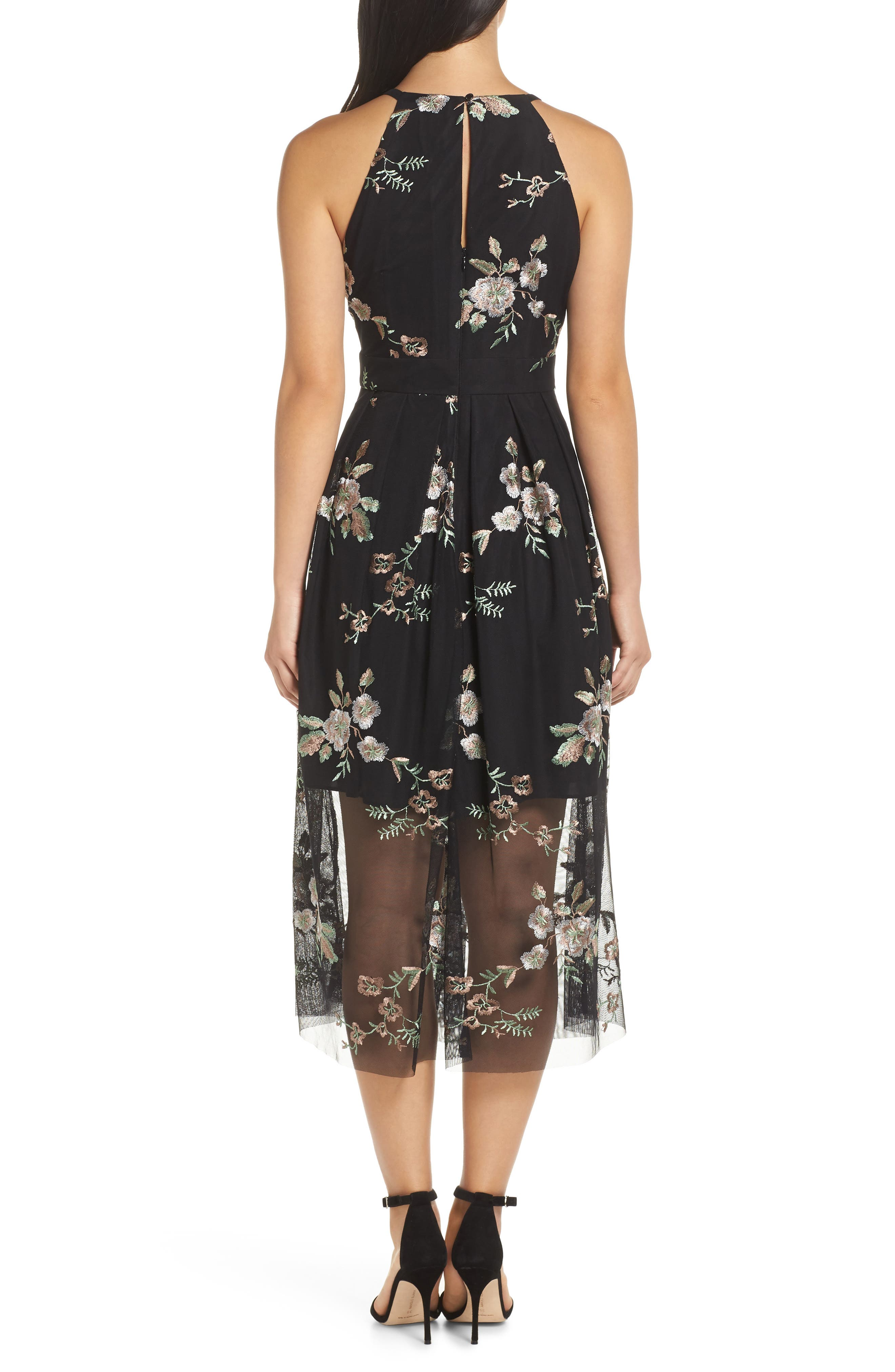 VINCE CAMUTO, Embroidered Mesh Midi Dress, Alternate thumbnail 2, color, 019