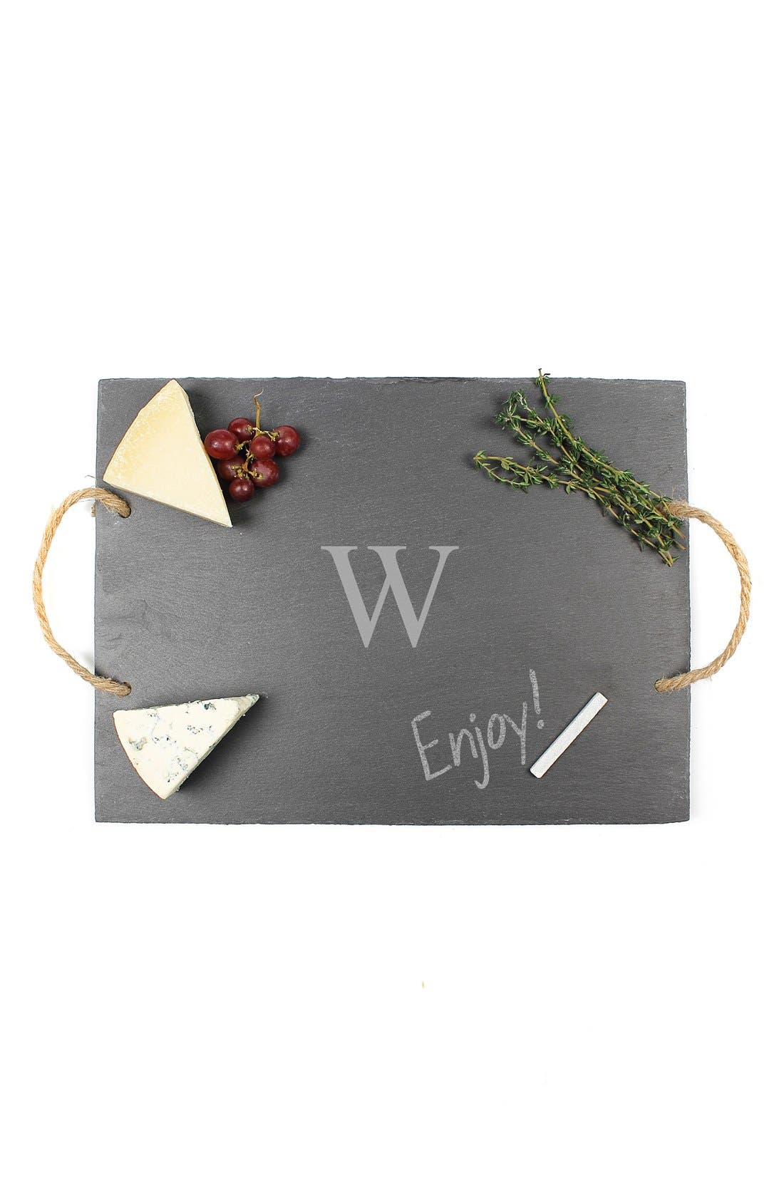 CATHY'S CONCEPTS, Monogram Slate Serving Board, Alternate thumbnail 3, color, W