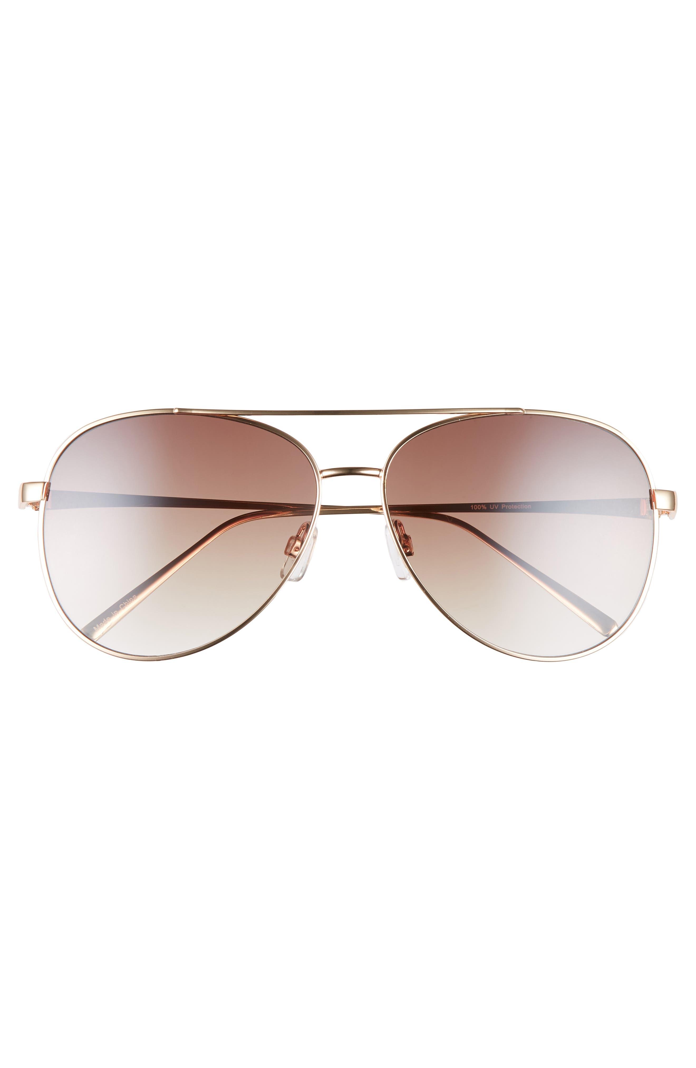 BP., 60mm Browbar Metal Aviator Sunglasses, Alternate thumbnail 3, color, GOLD/ BROWN