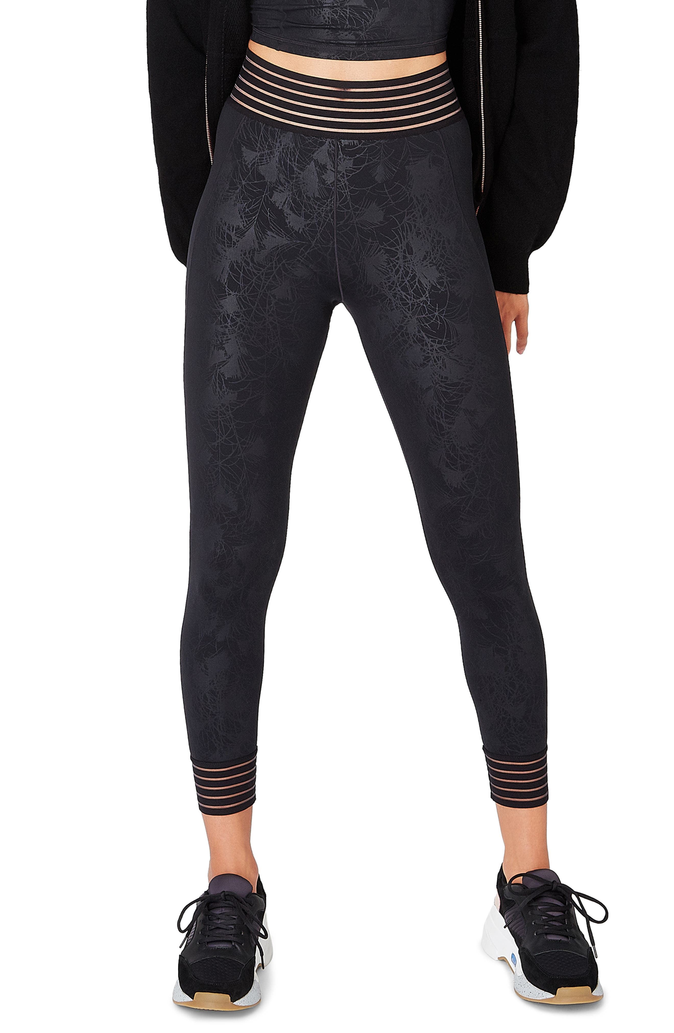 SWEATY BETTY, Contour Leggings, Main thumbnail 1, color, BLACK EMBOSSED FEATHER