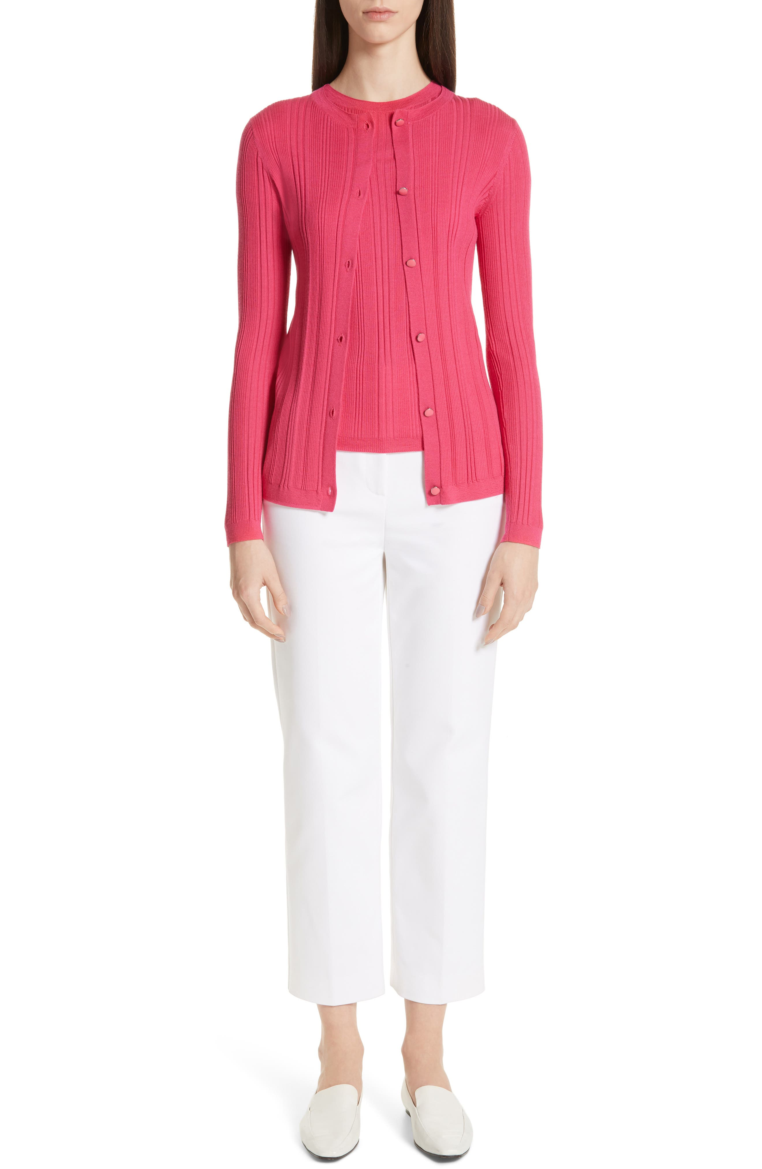 ST. JOHN COLLECTION, Superfine Variegated Rib Sweater, Alternate thumbnail 7, color, FLAMINGO