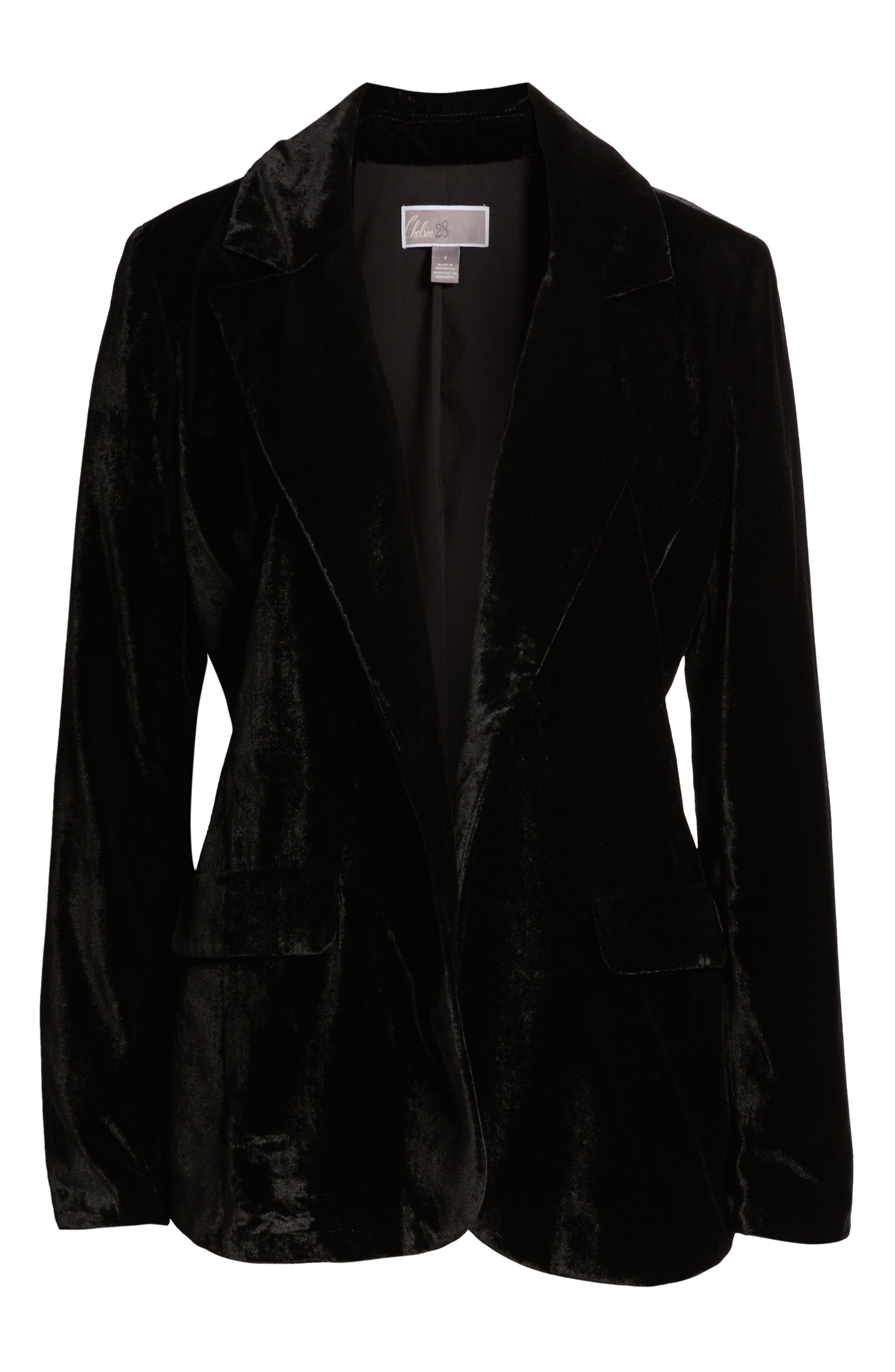 CHELSEA28, Velvet Blazer, Alternate thumbnail 6, color, BLACK