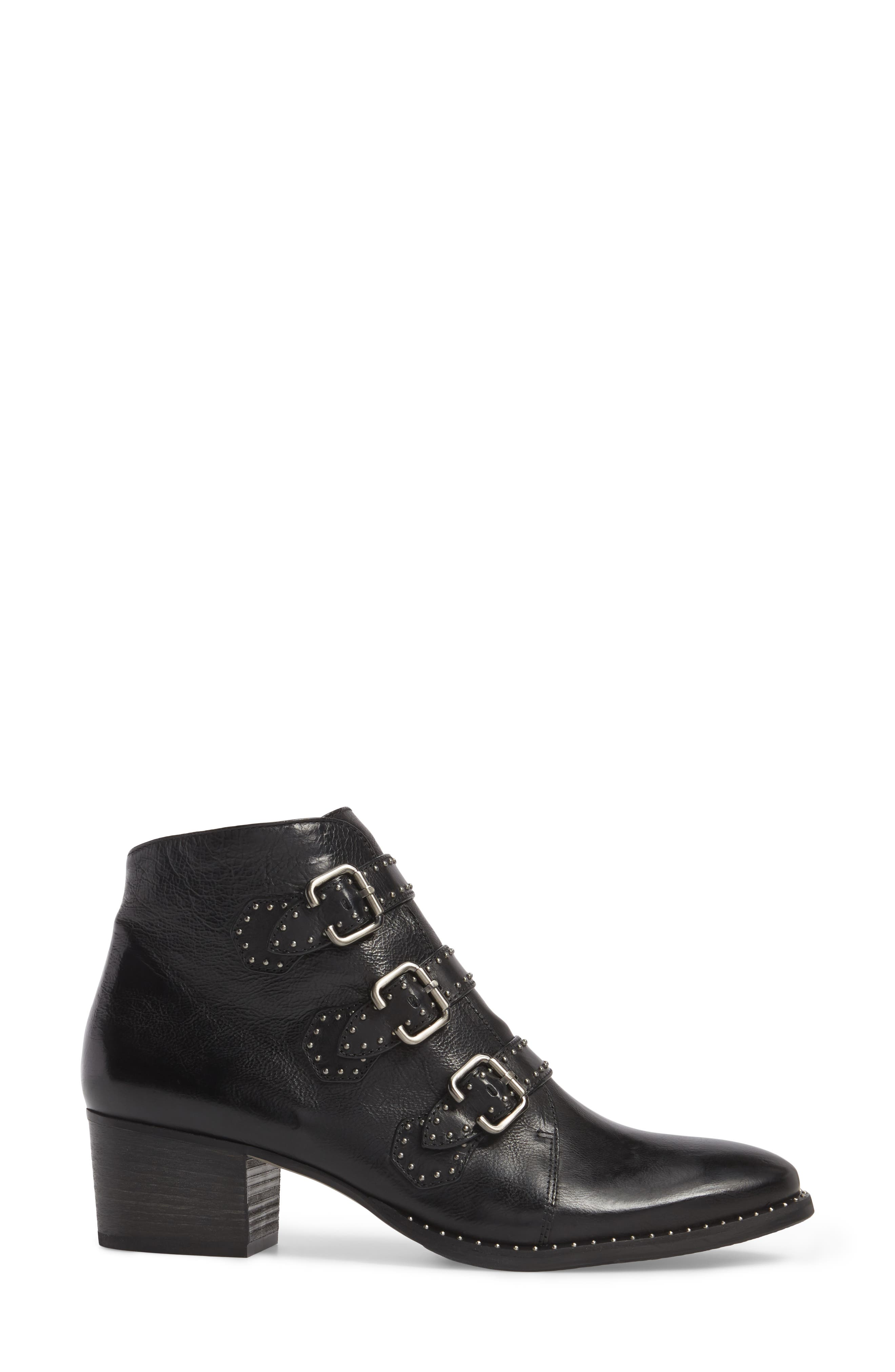 PAUL GREEN, Soho Bootie, Alternate thumbnail 3, color, BLACK LEATHER