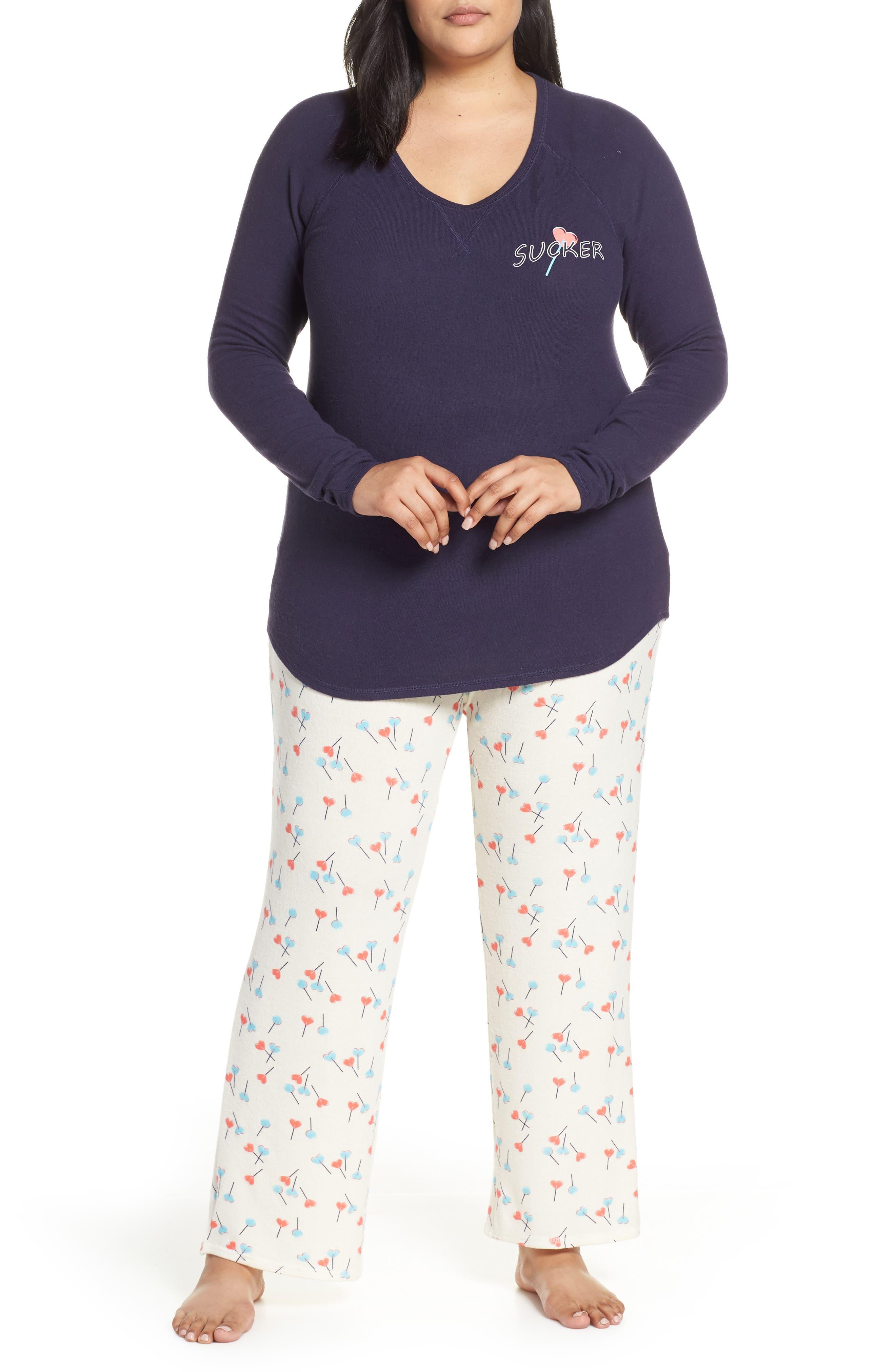 MAKE + MODEL, Knit Pajamas, Main thumbnail 1, color, NAVY DUSK SUCKER