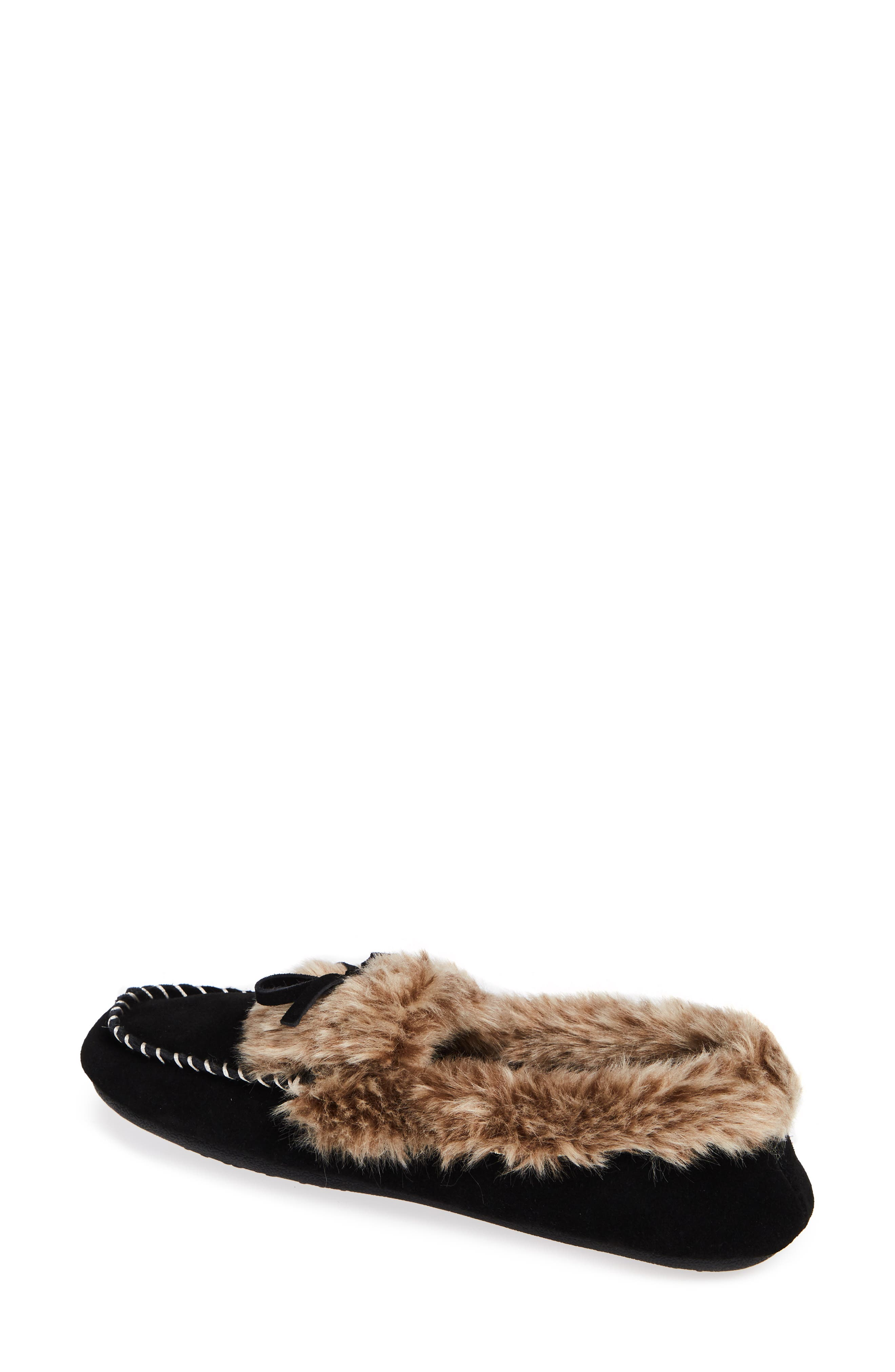 ACORN, Faux Fur Trim Moccasin Indoor/Outdoor Slipper, Alternate thumbnail 2, color, BLACK SUEDE