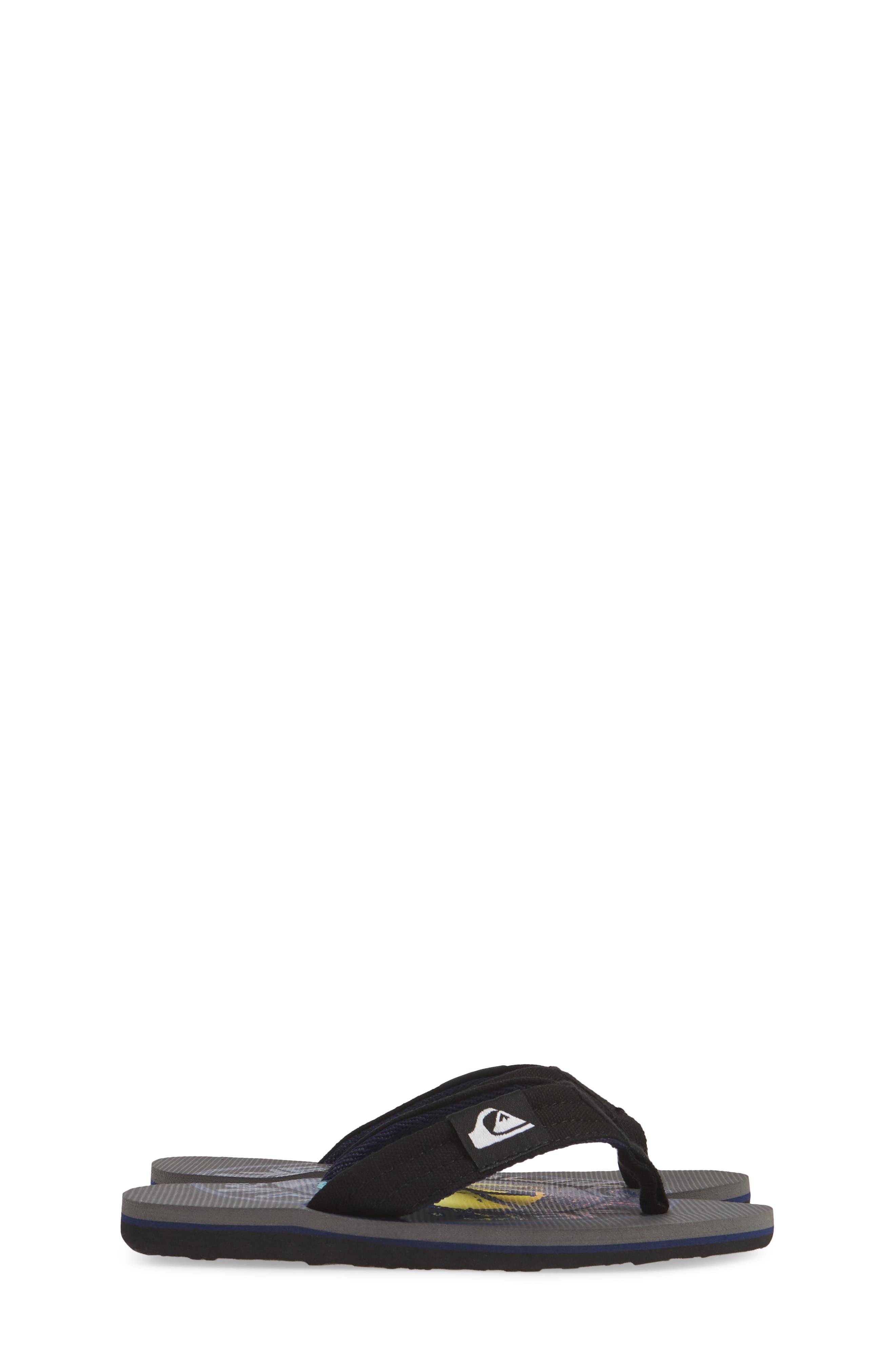 QUIKSILVER, Molokai Layback Flip Flop, Alternate thumbnail 4, color, GREY/ BLACK/ BLUE