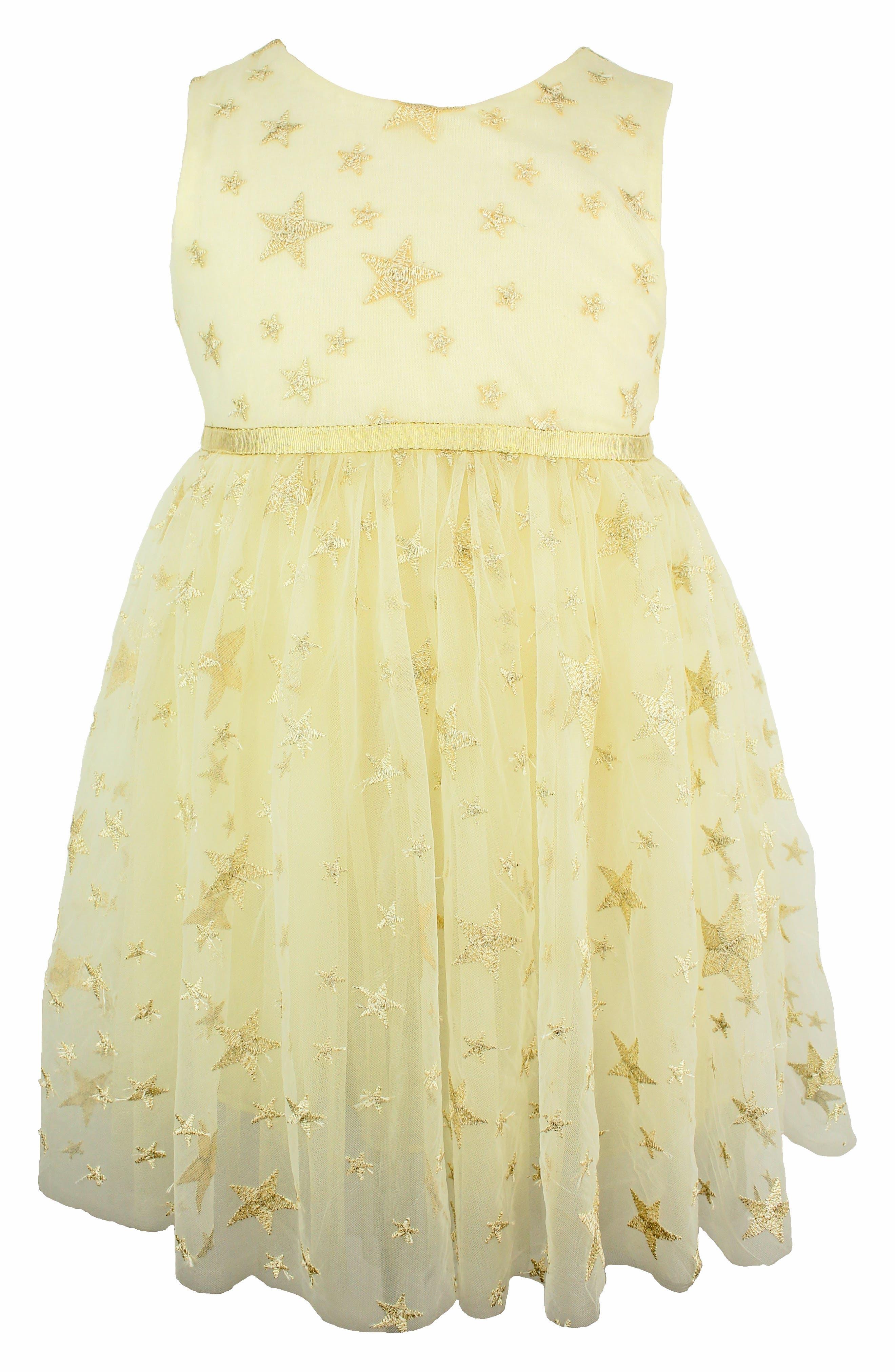 POPATU Embroidered Star Dress, Main, color, CREAM