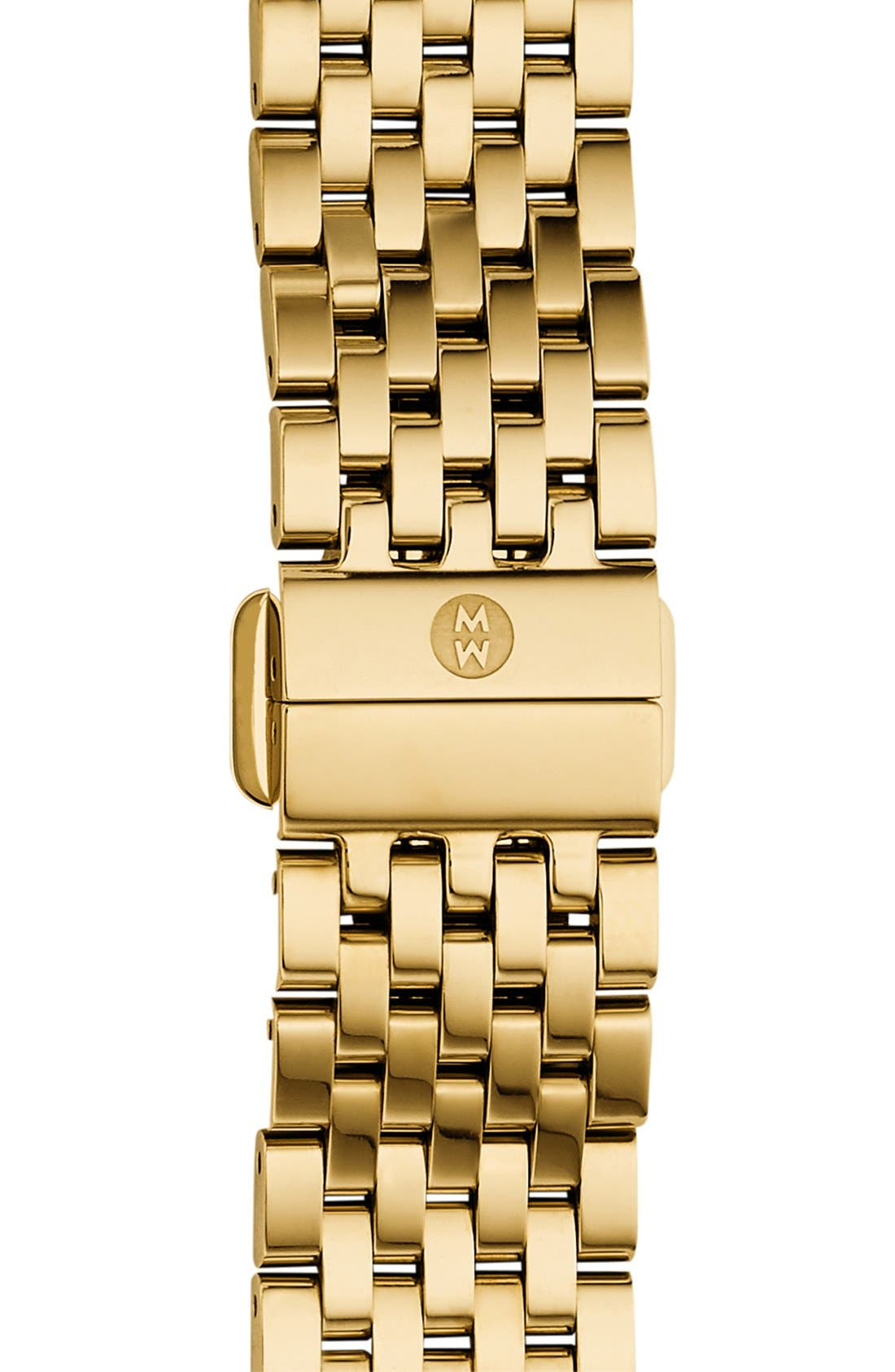 MICHELE, 'Deco II' 16mm Bracelet Watchband, Main thumbnail 1, color, GOLD