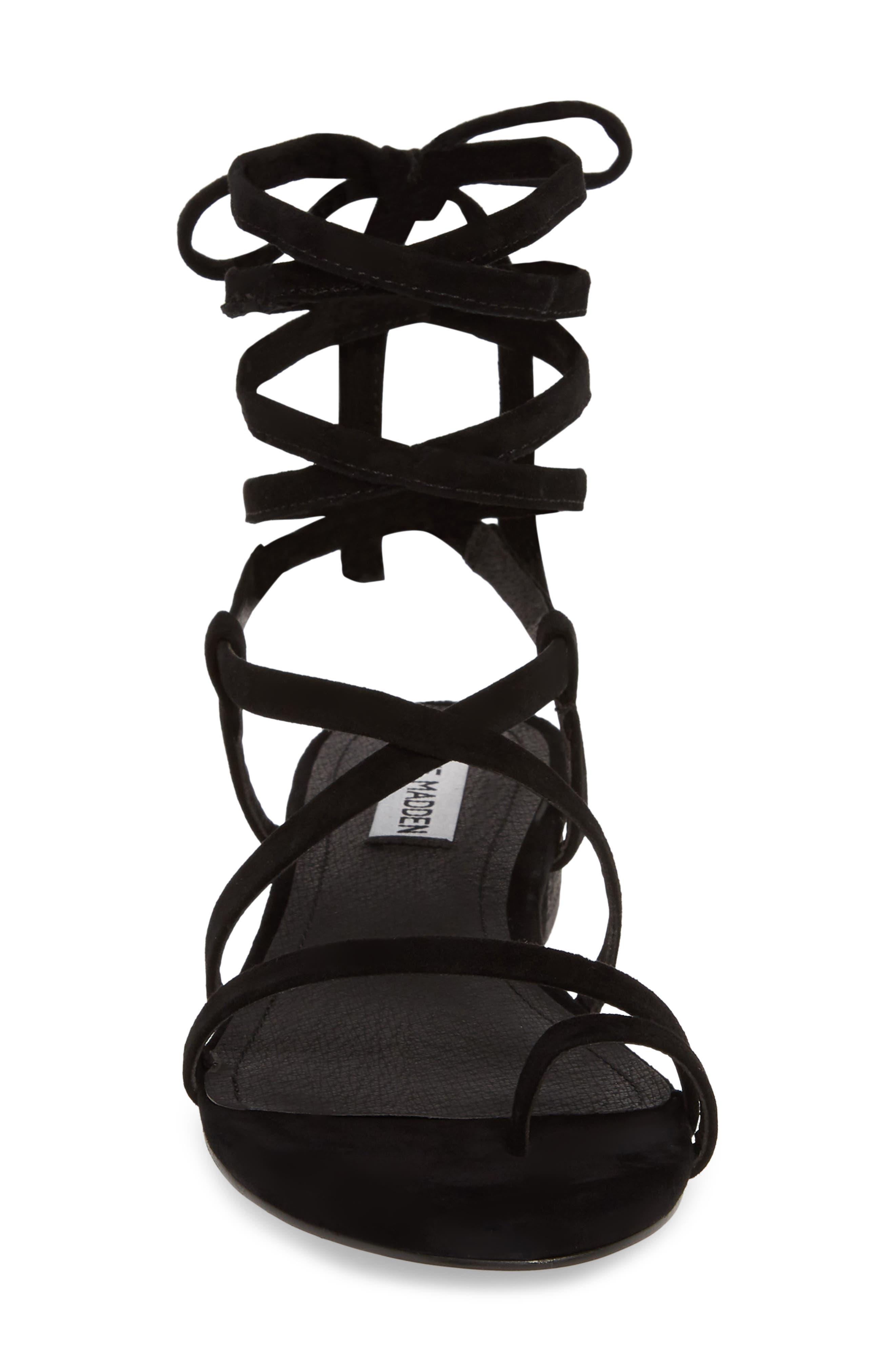 STEVE MADDEN, Adrenaline Lace-Up Sandal, Alternate thumbnail 4, color, BLACK SUEDE