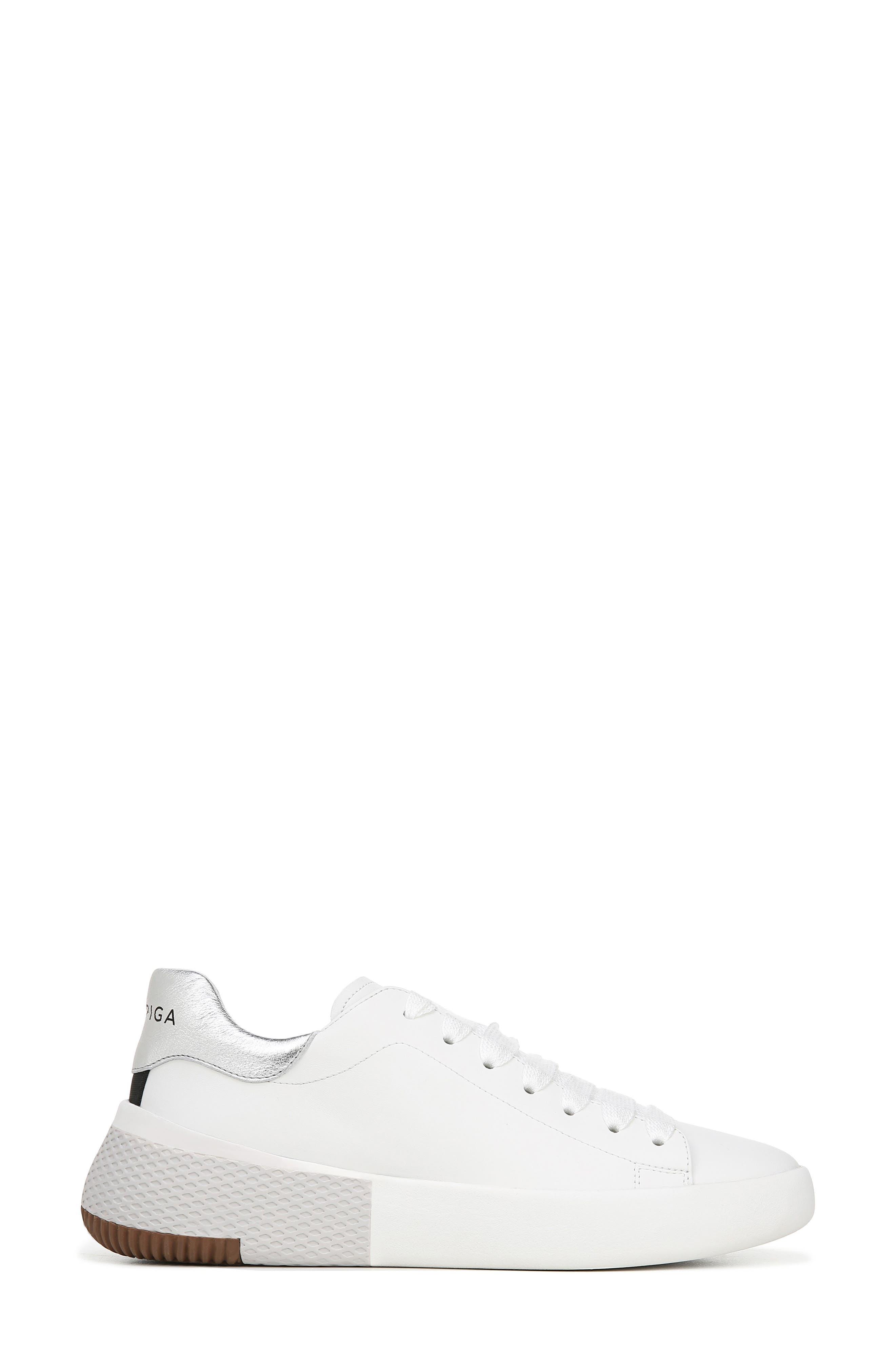 VIA SPIGA, Parrel Sneaker, Alternate thumbnail 3, color, PORCELAIN/ SILVER