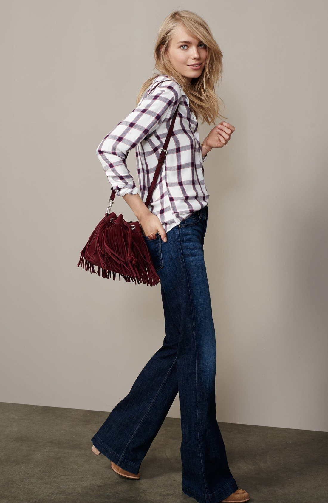 7 FOR ALL MANKIND<SUP>®</SUP>, 'Ginger' High Rise Flare Jeans, Alternate thumbnail 4, color, 400
