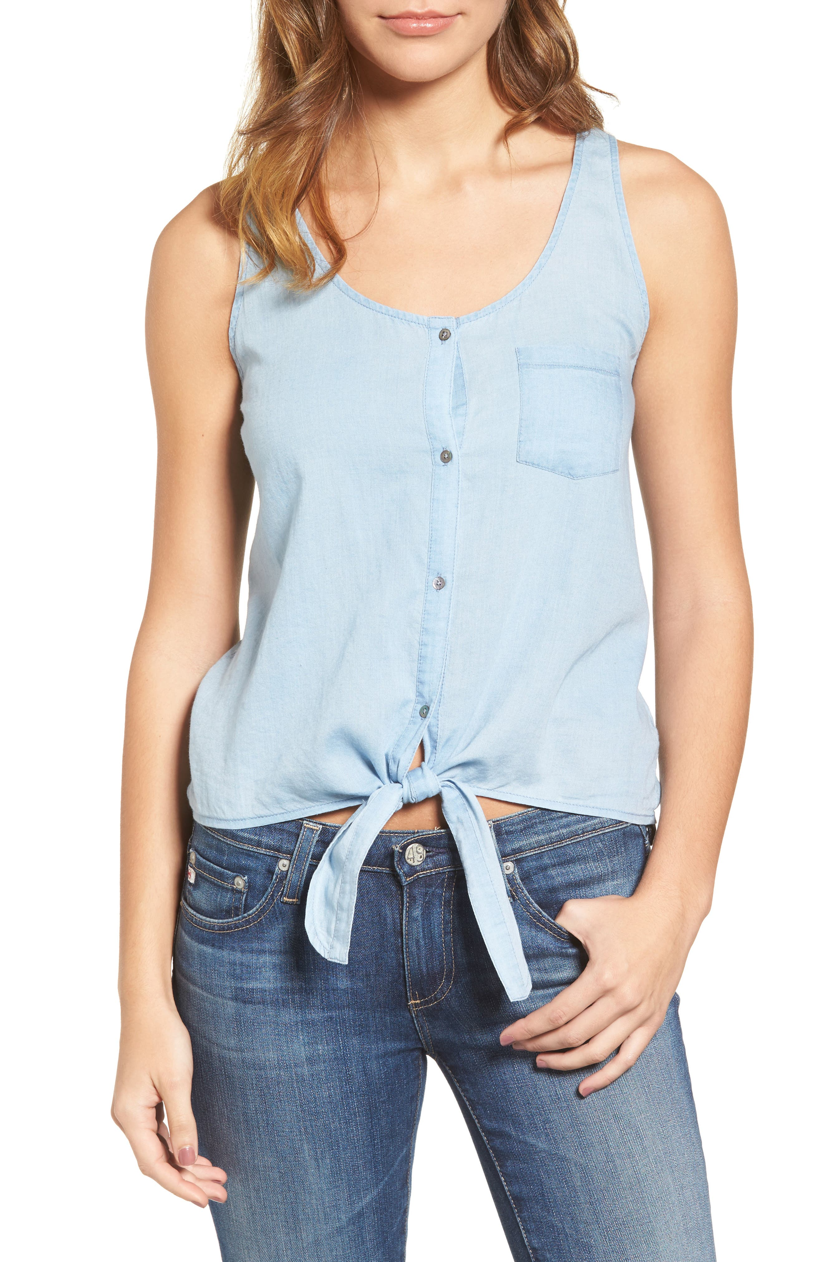 AG The Cynthia Cotton Chambray Tank, Main, color, 422