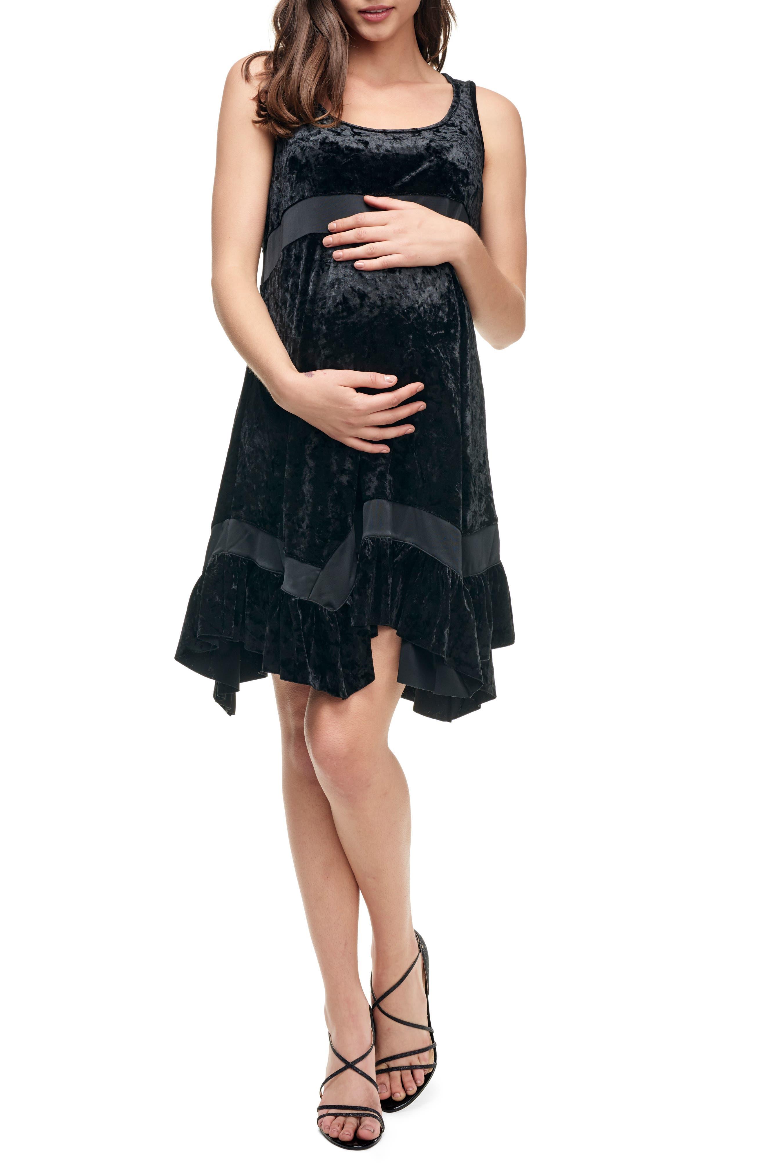 MATERNAL AMERICA, Maternity Babydoll Dress, Main thumbnail 1, color, VELVET BLACK