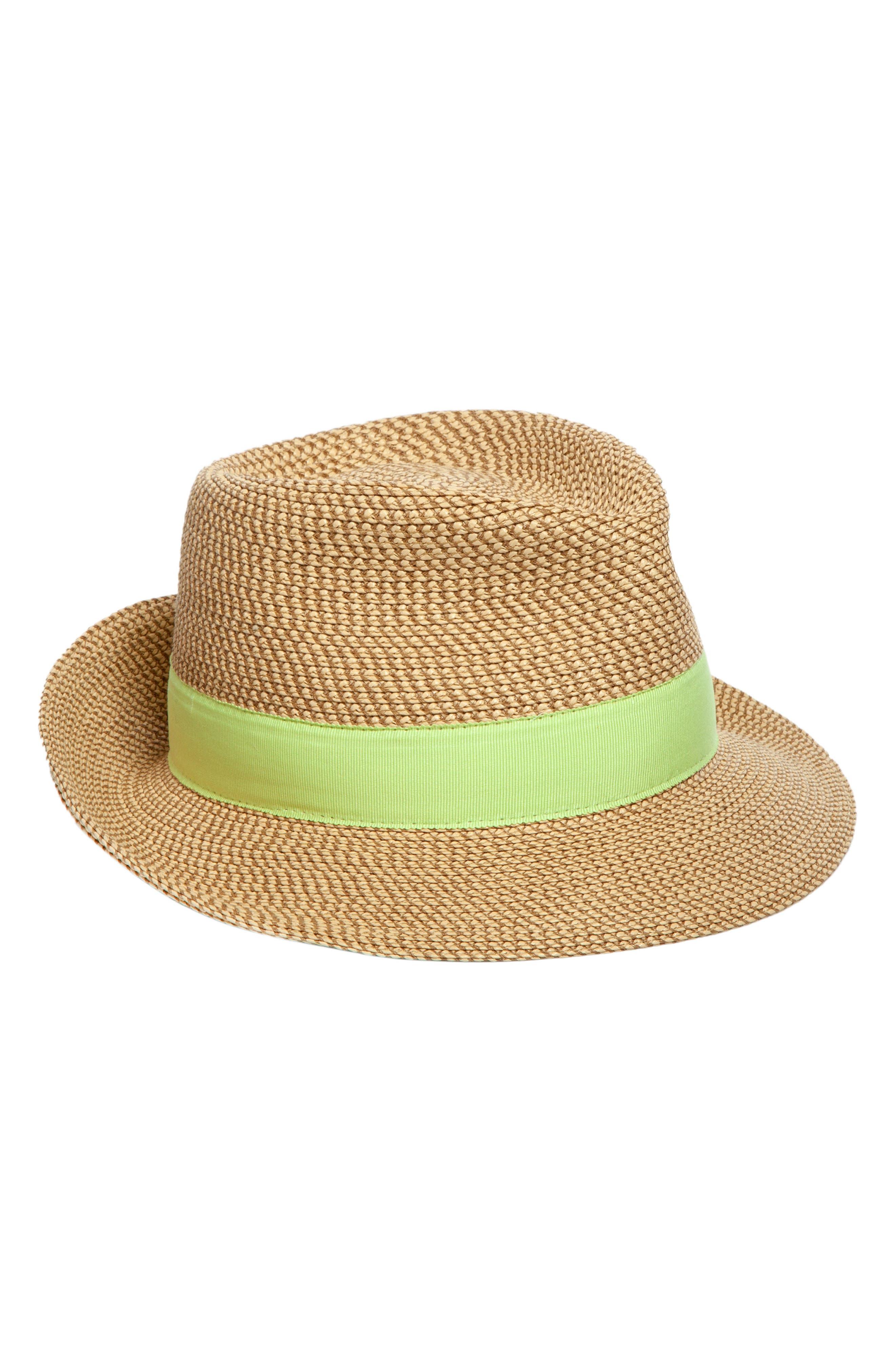 ERIC JAVITS, Classic Squishee<sup>®</sup> Packable Fedora Sun Hat, Main thumbnail 1, color, PEANUT/ CITRON