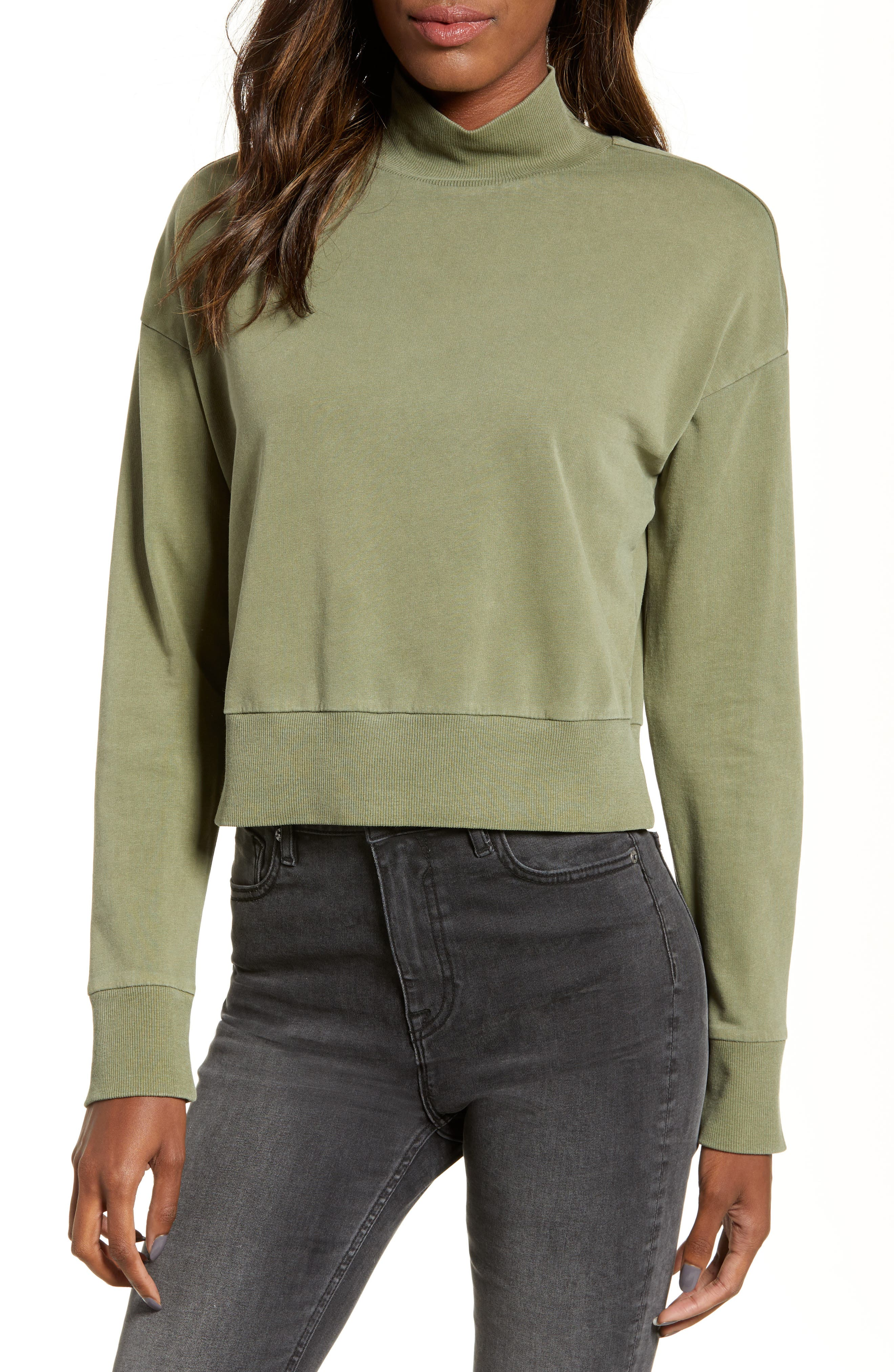 BP., Washed Mock Neck Sweatshirt, Main thumbnail 1, color, OLIVE BURNT