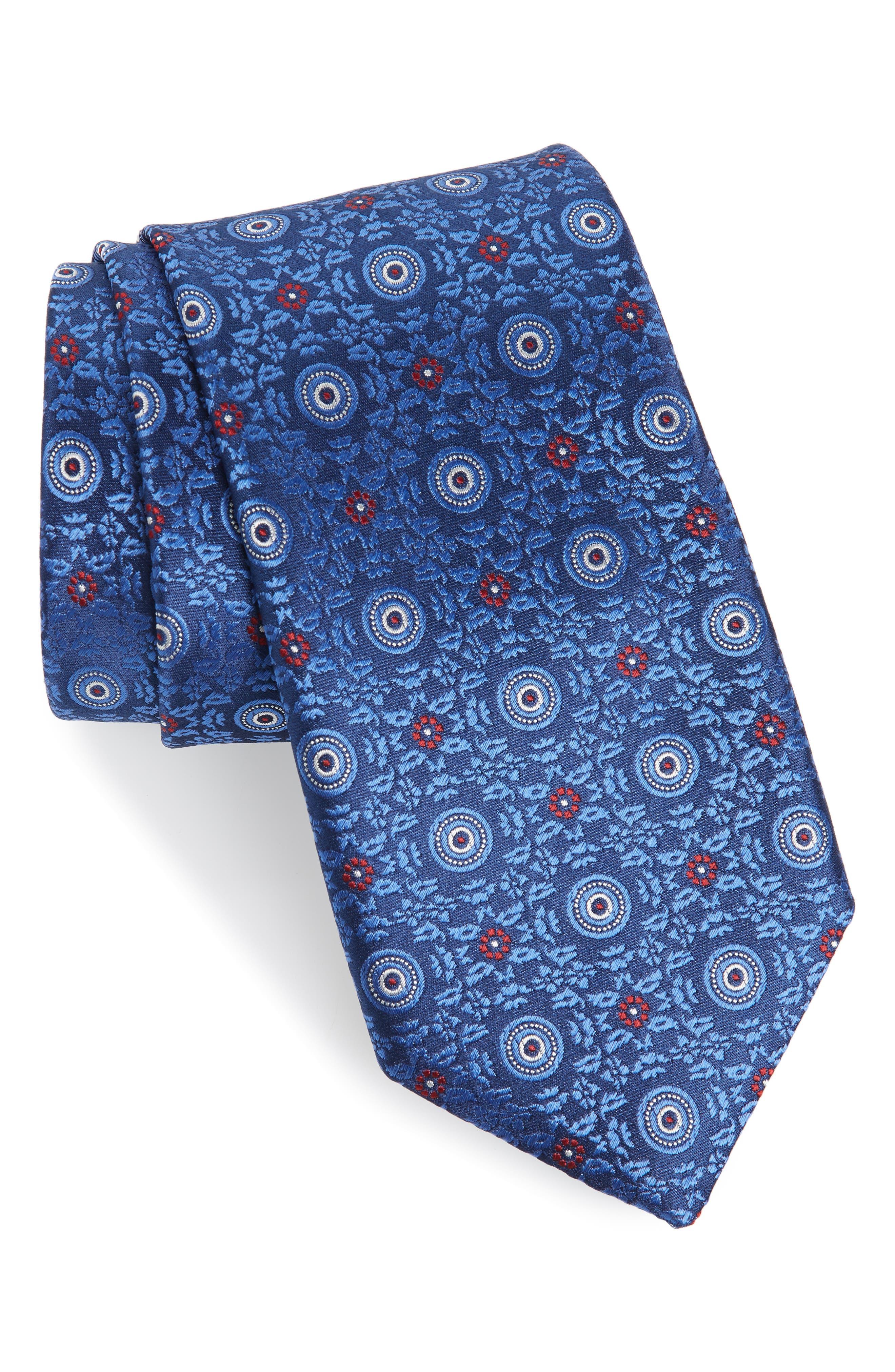 CANALI Medallion Silk X-Long Tie, Main, color, BLUE