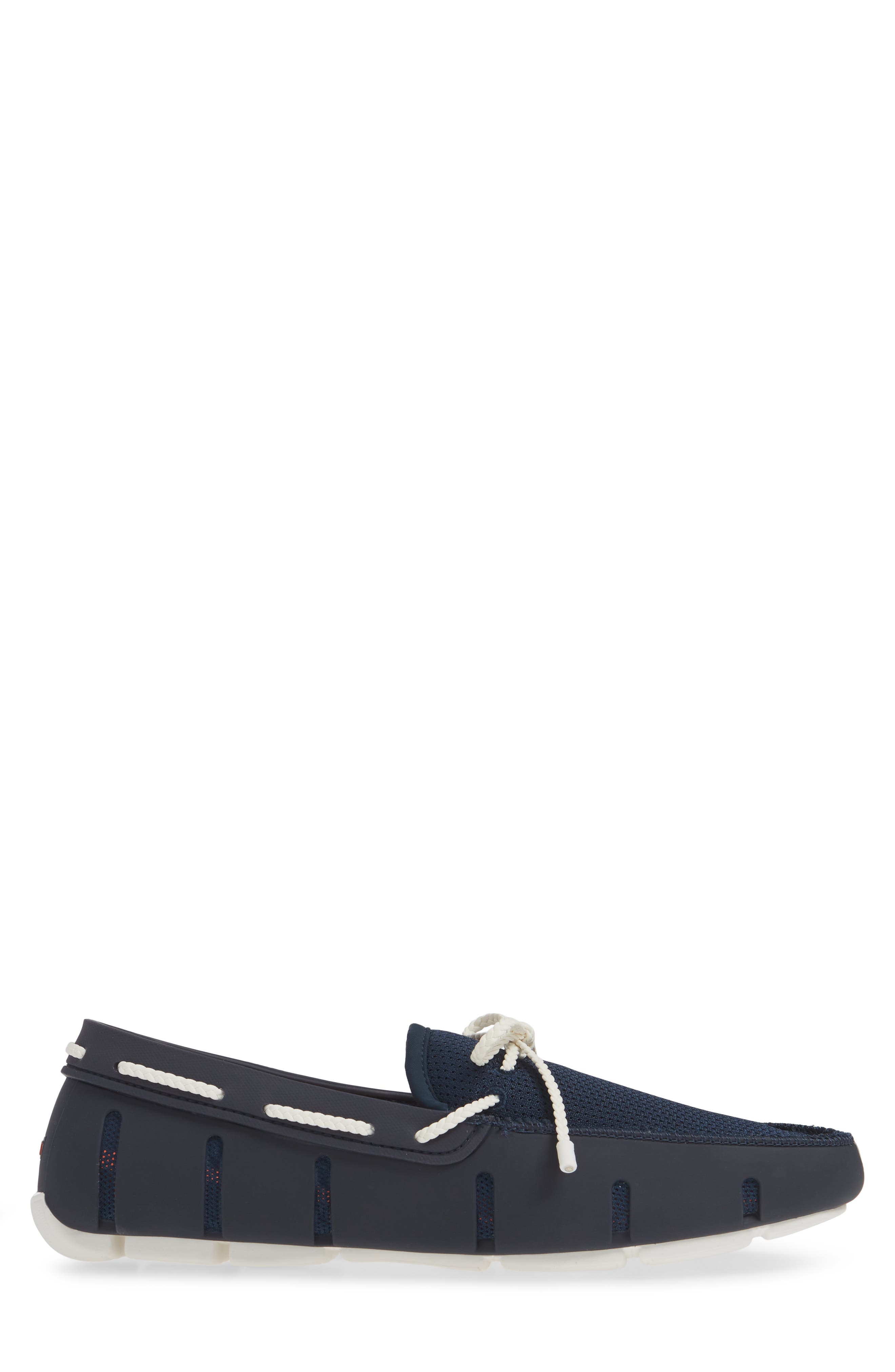 SWIMS, Lace Loafer, Alternate thumbnail 3, color, DARK NAVY/ WHITE