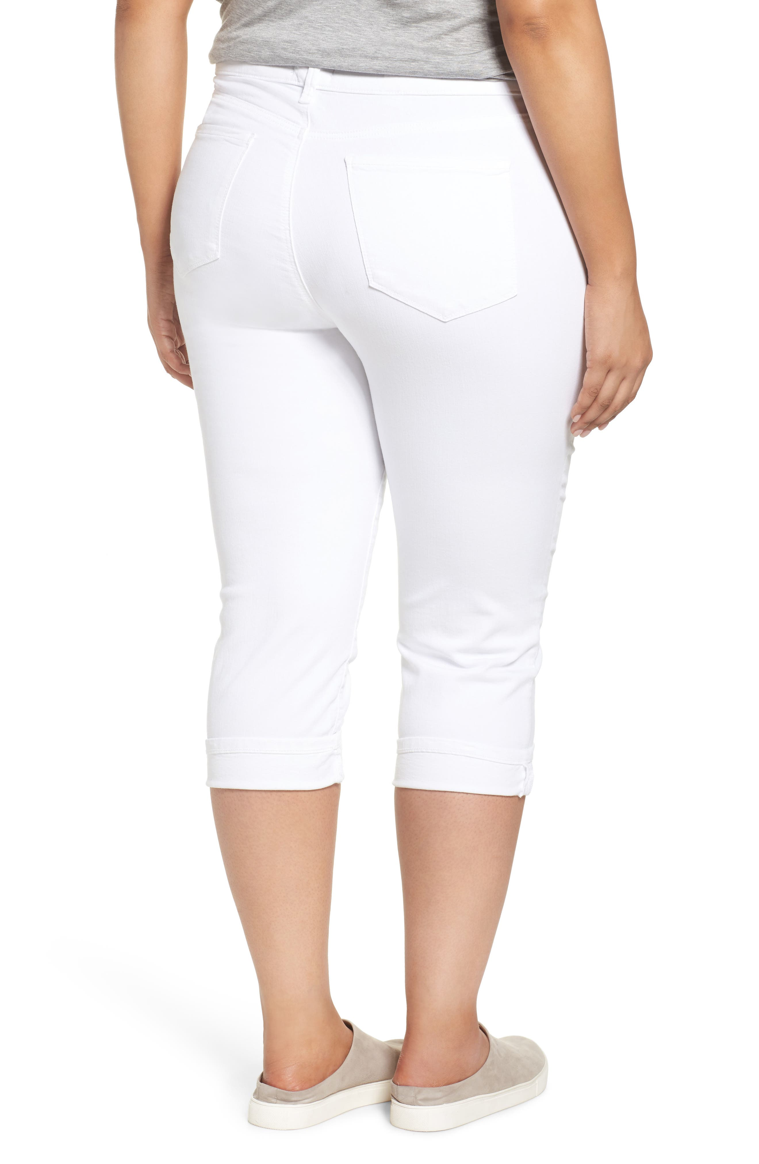 NYDJ, Marilyn Crop Cuff Jeans, Alternate thumbnail 2, color, WHITE