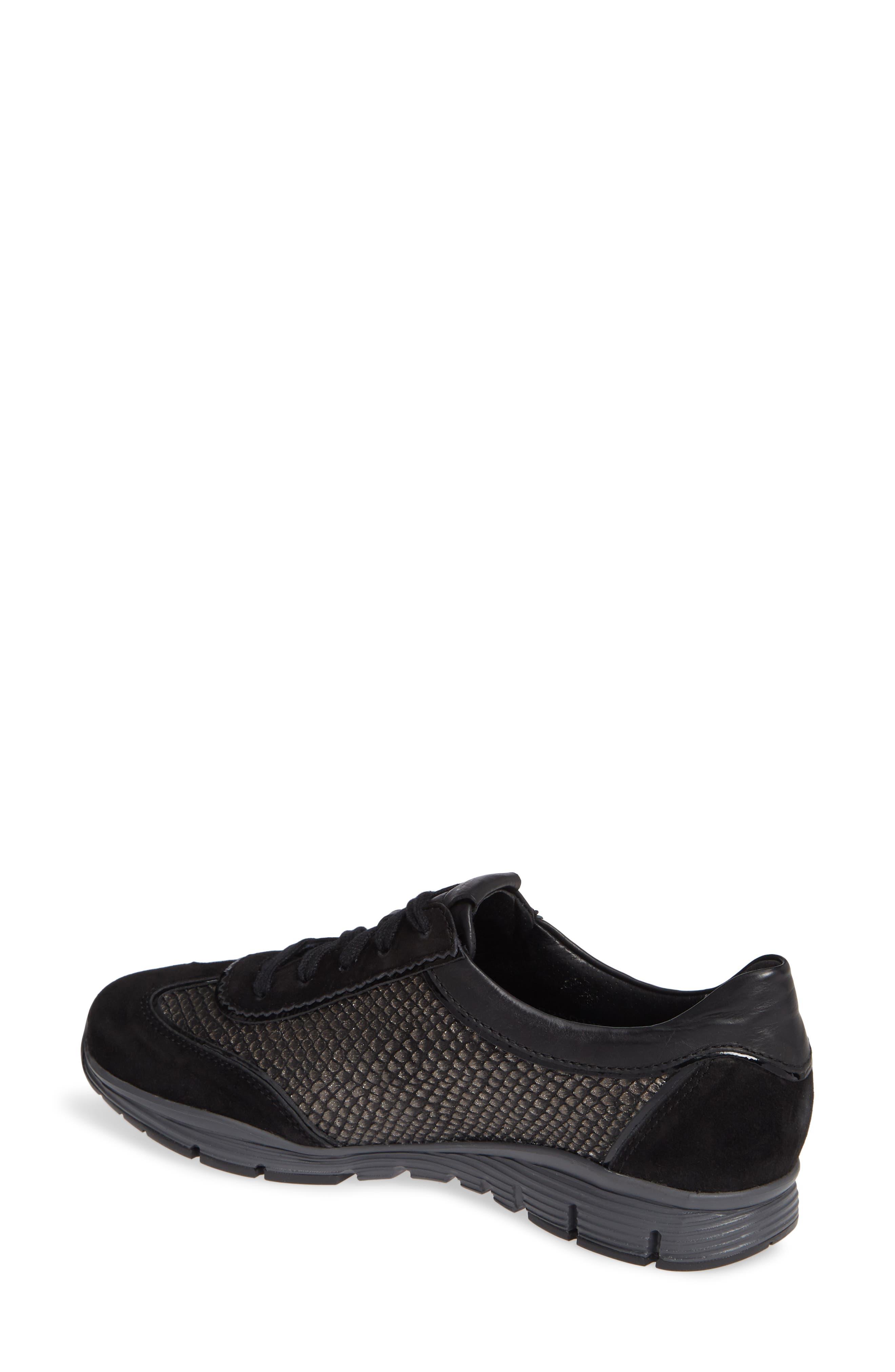 MEPHISTO, 'Yael' Soft-Air Sneaker, Alternate thumbnail 2, color, BLACK SUEDE