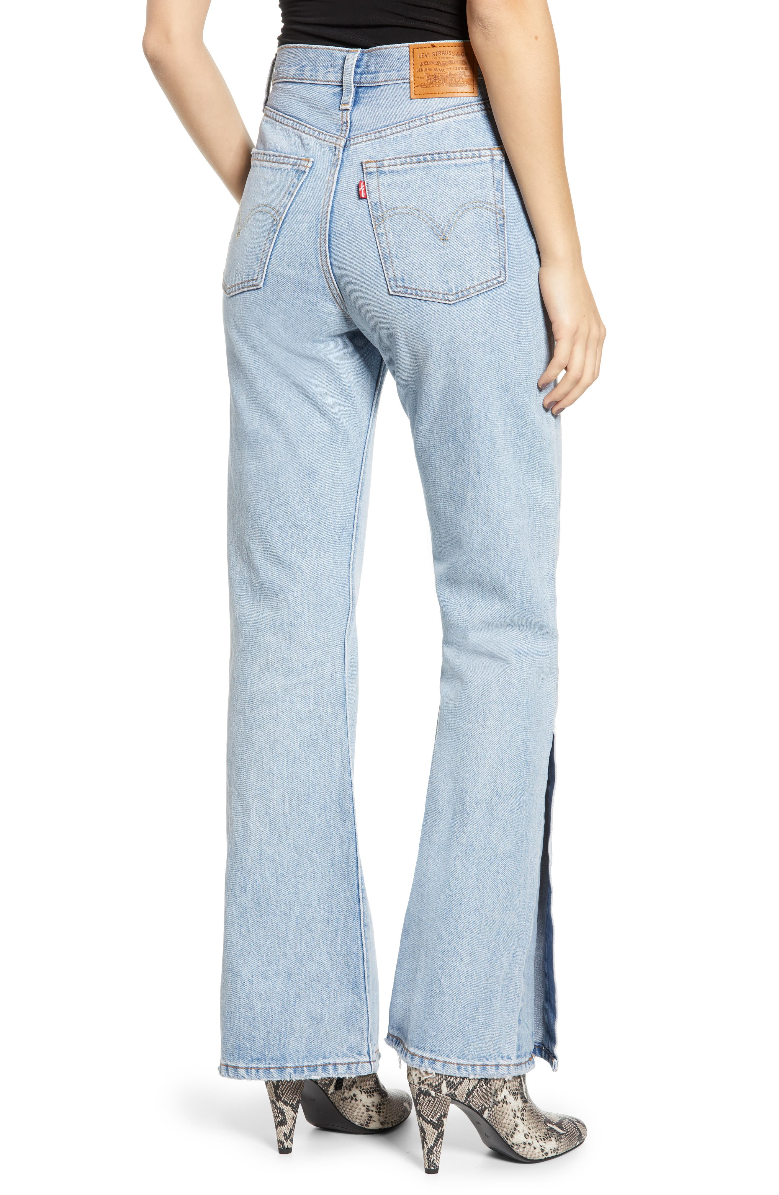 LEVI'S<SUP>®</SUP>, Ribcage Super High Waist Split Flare Jeans, Alternate thumbnail 2, color, DAZED AND CONFUSED