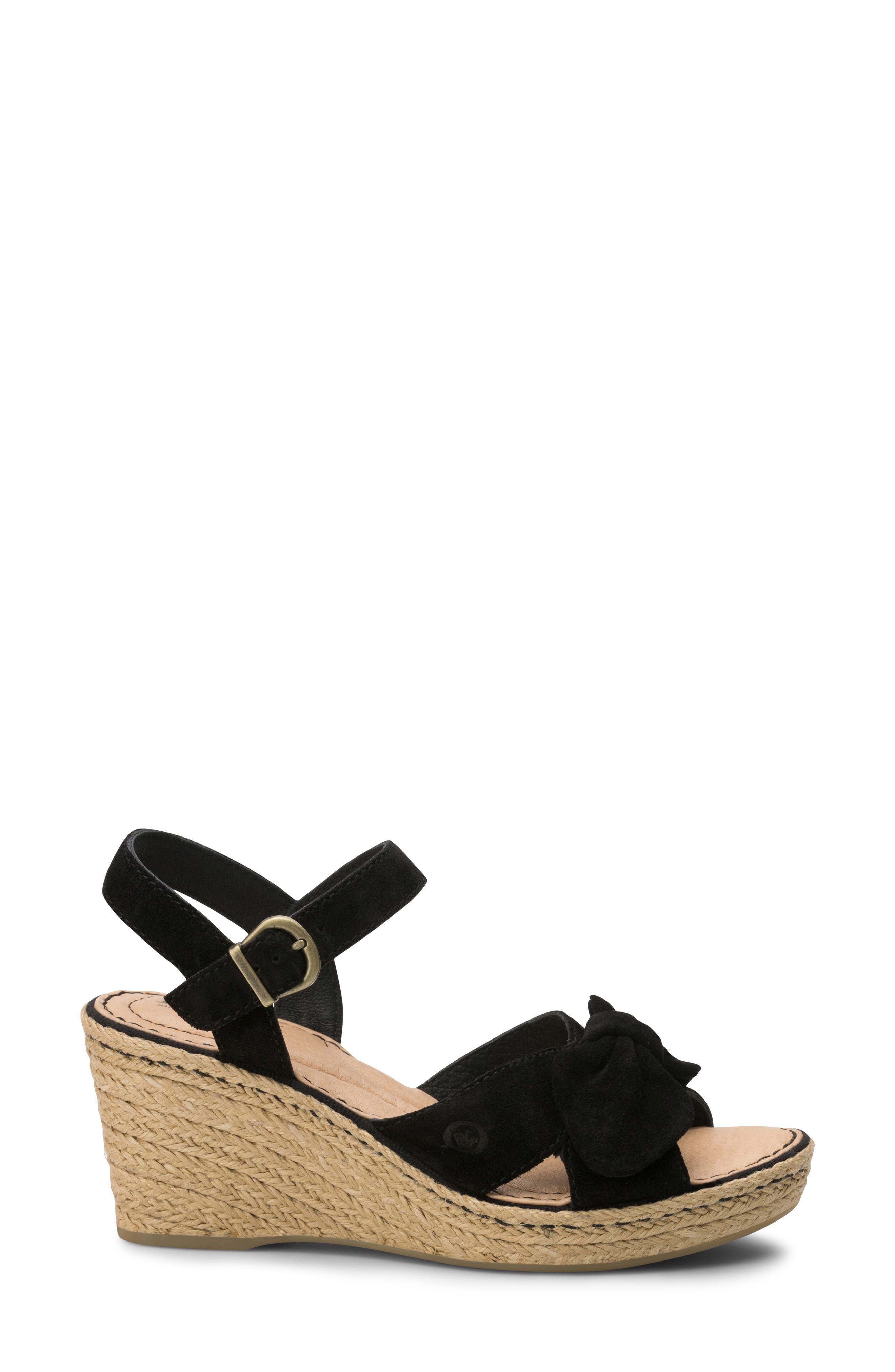 BØRN, Monticello Knotted Wedge Sandal, Alternate thumbnail 3, color, BLACK SUEDE