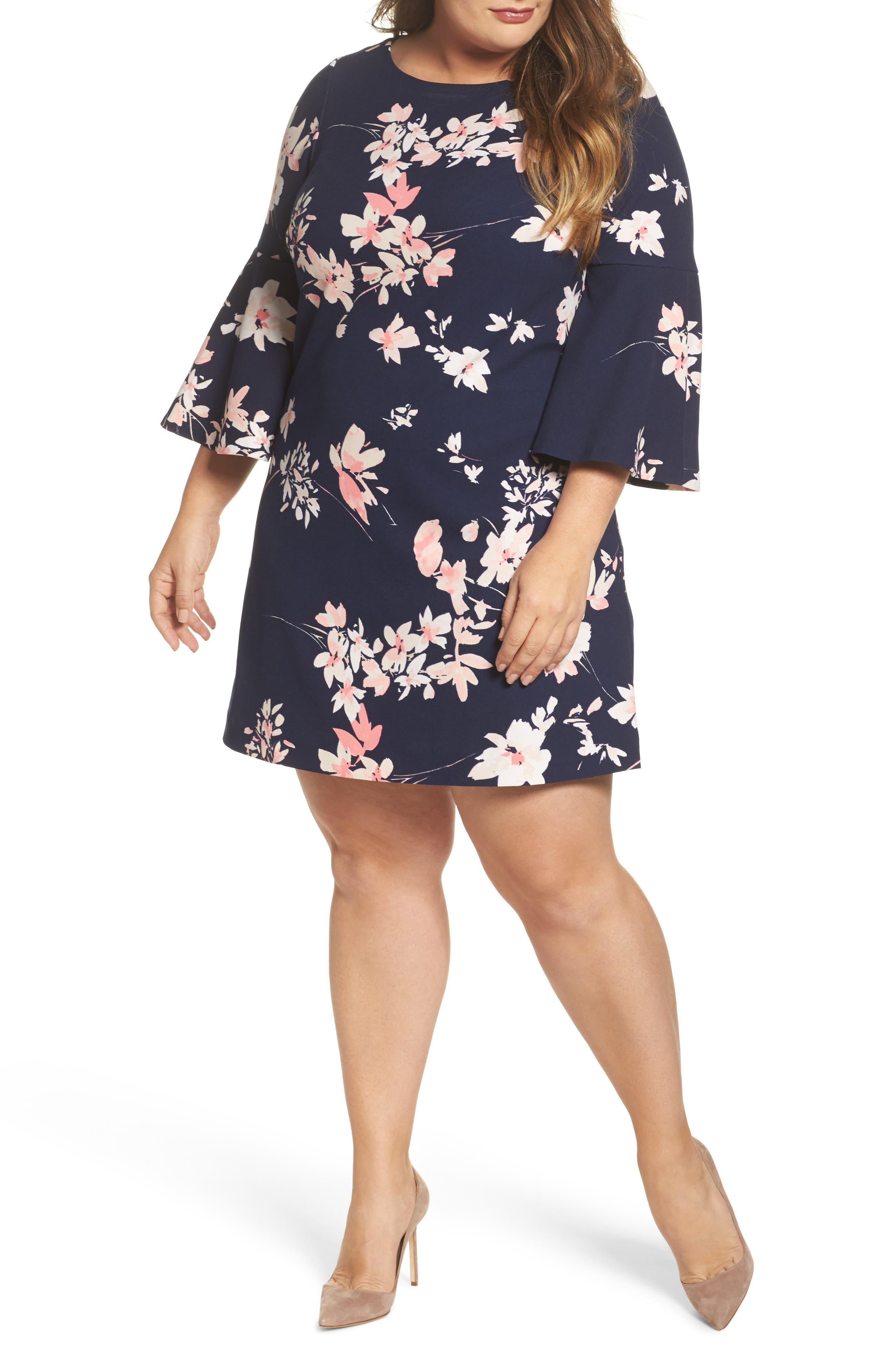 ELIZA J, Floral Print Bell Sleeve Shift Dress, Main thumbnail 1, color, NAVY/ PINK