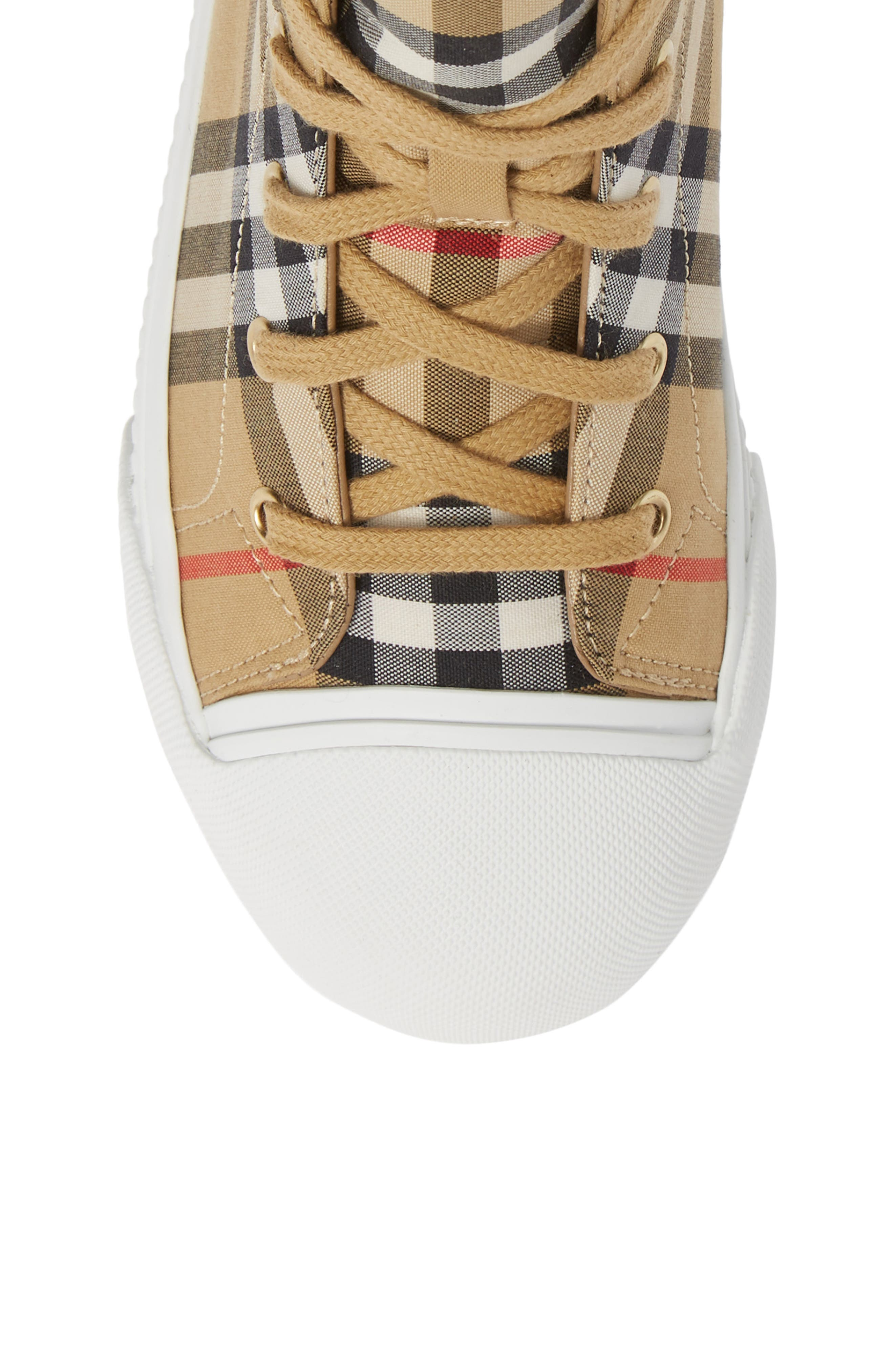 BURBERRY, Belford High-Top Sneaker, Alternate thumbnail 5, color, ANTIQUE YELLOW/ OPTIC WHITE