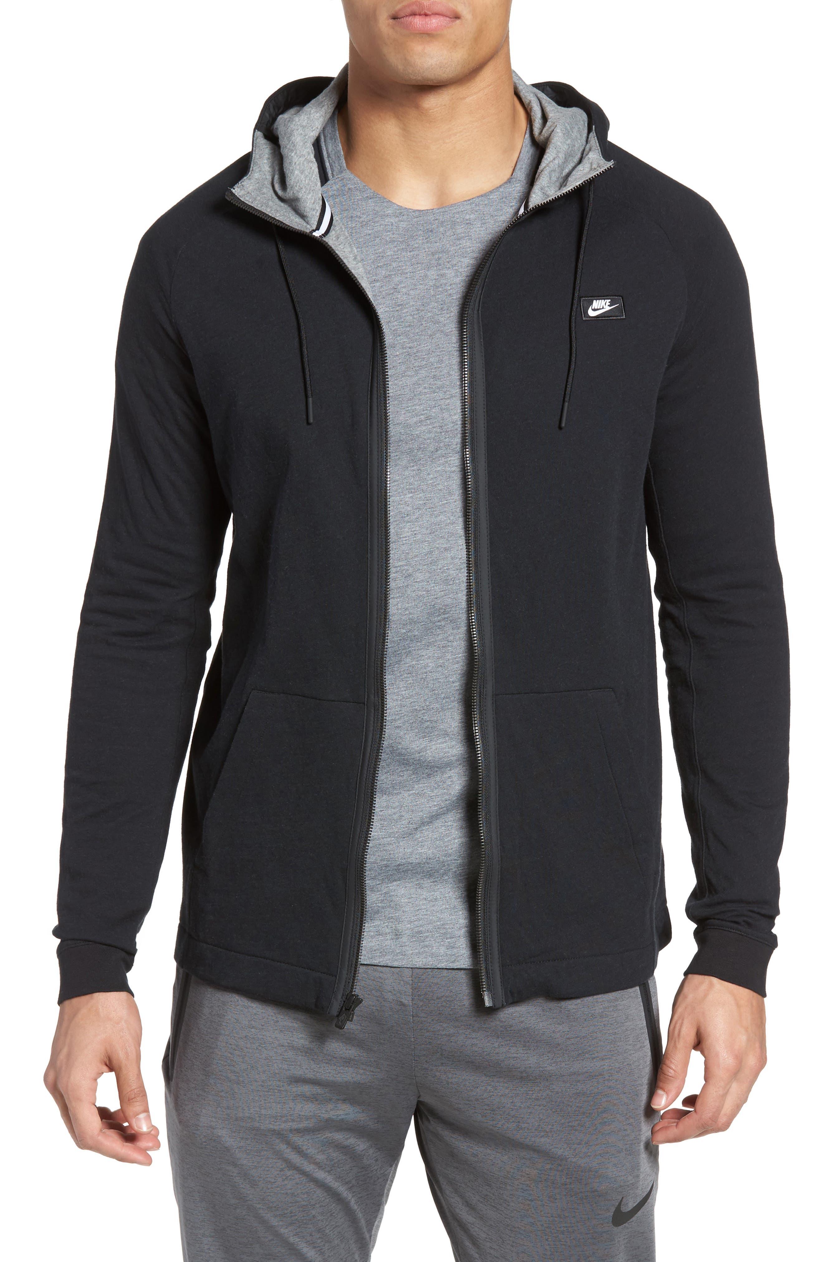 NIKE, Tech Regular Fit Fleece Hoodie, Main thumbnail 1, color, BLACK/ CARBON HEATHER