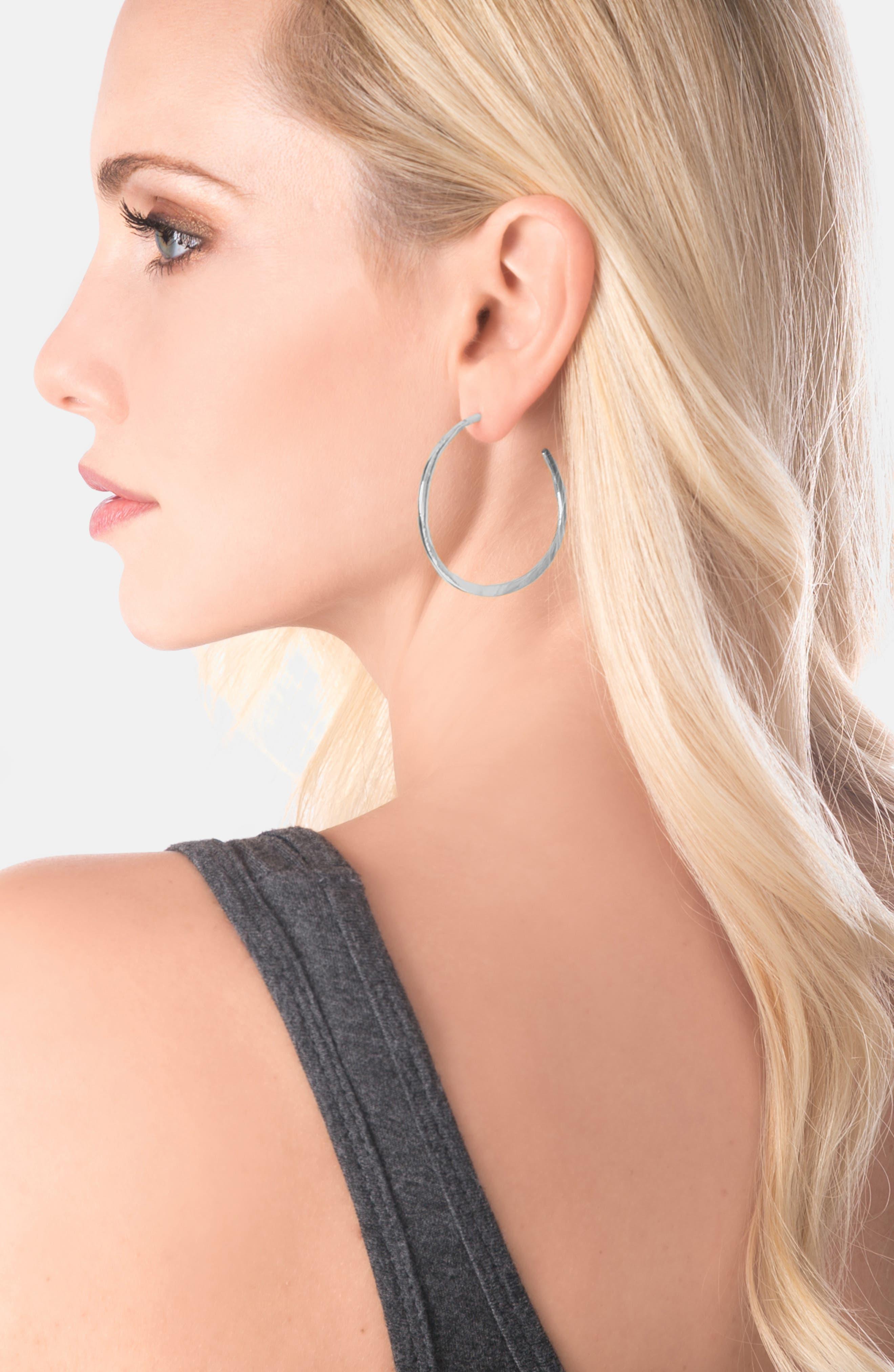 GORJANA, 'Arc' Hoop Earrings, Alternate thumbnail 9, color, SILVER