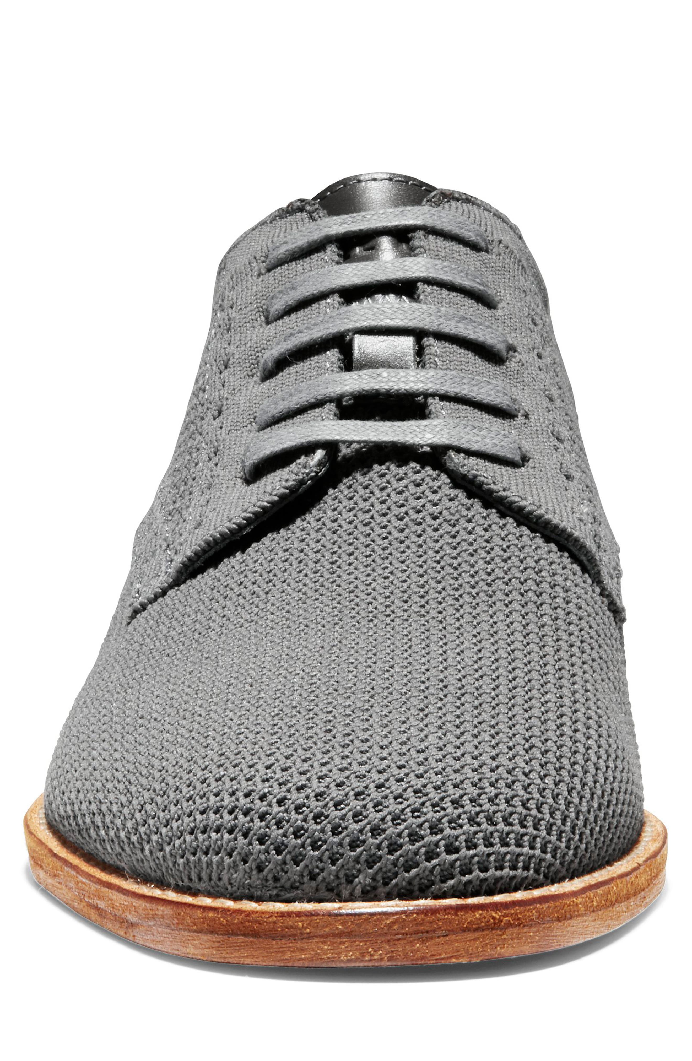 COLE HAAN, Feathercraft Grand Stitchlite Plain Toe Derby, Alternate thumbnail 4, color, MAGNET KNIT