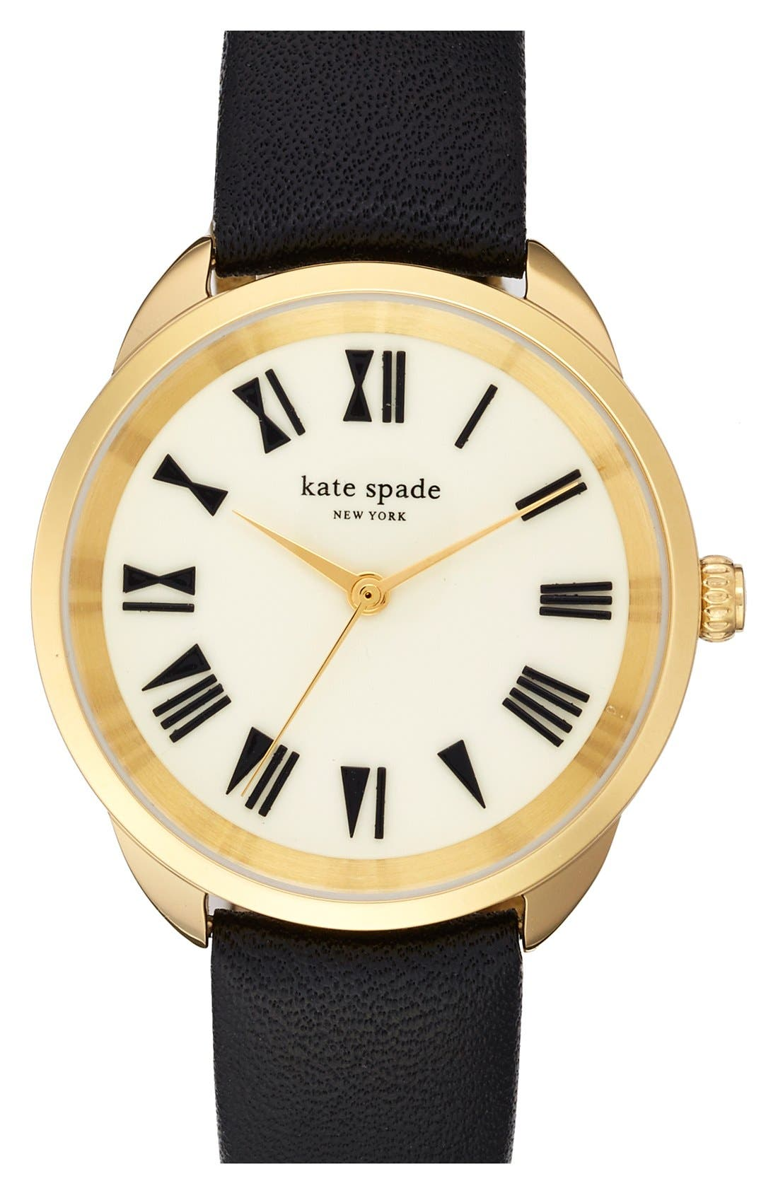 KATE SPADE NEW YORK, 'crosstown' leather strap watch, 34mm, Main thumbnail 1, color, 001