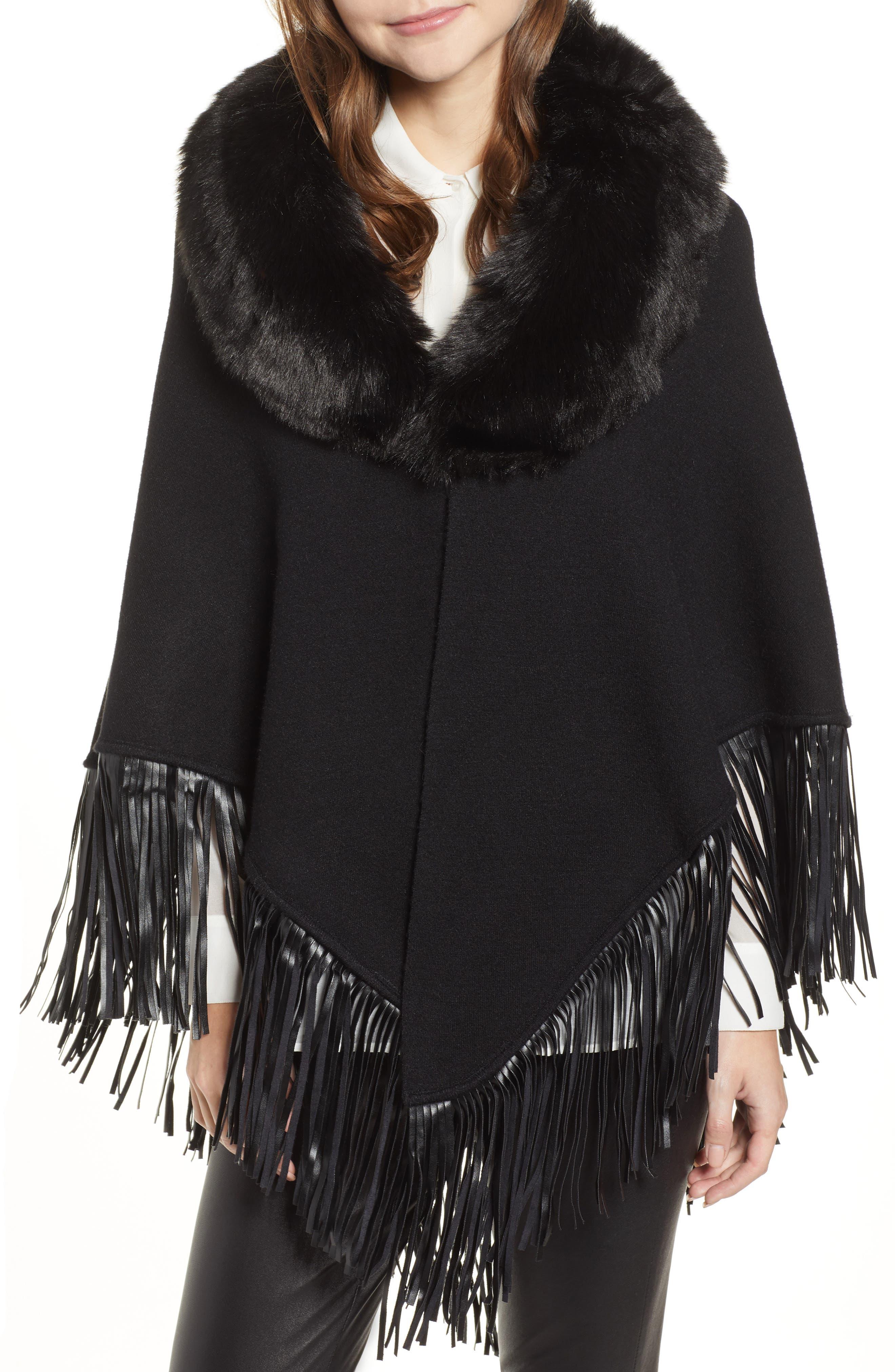 LOVE TOKEN Fringe Poncho With Detachable Faux Fur Collar, Main, color, 001