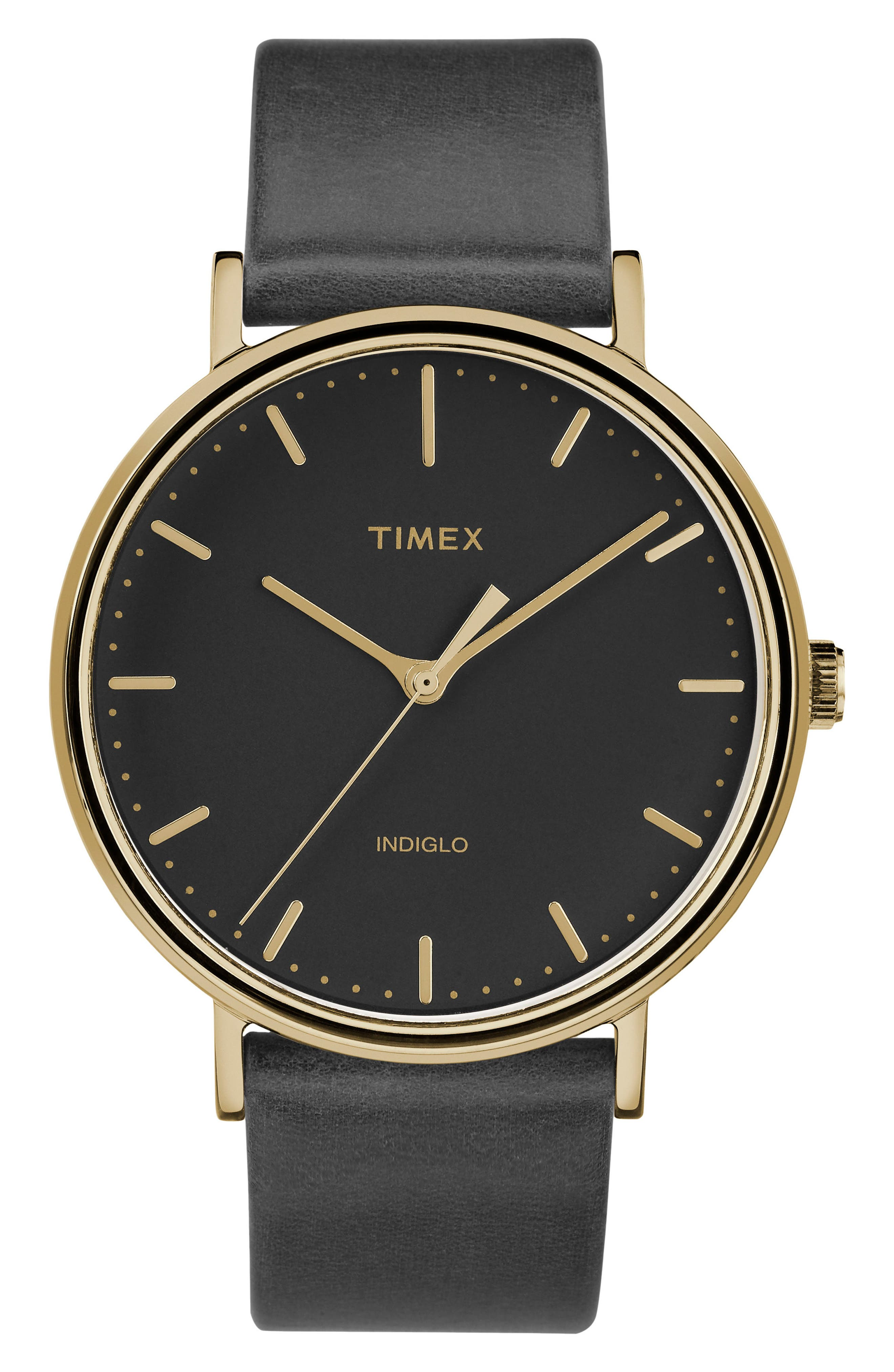 TIMEX<SUP>®</SUP> Fairfield Leather Strap Watch, 41mm, Main, color, BLACK/ GOLD