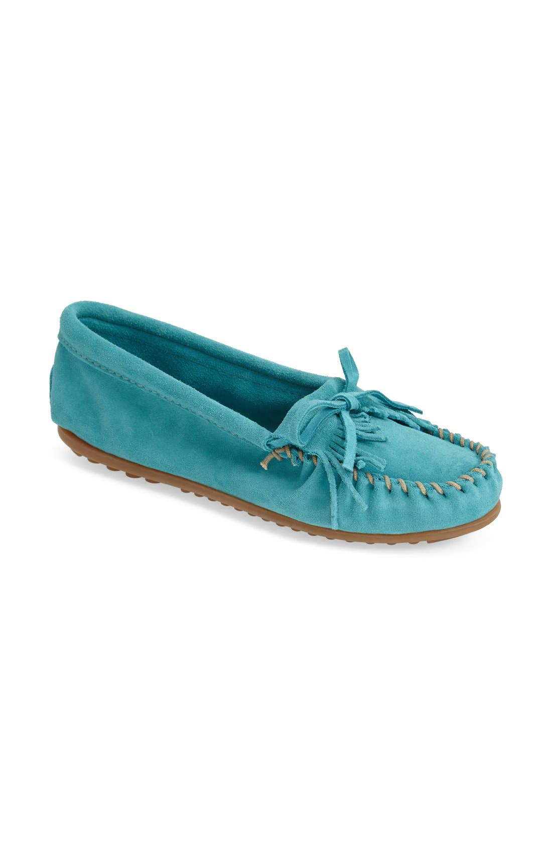 MINNETONKA, 'Kilty' Suede Moccasin, Alternate thumbnail 2, color, TURQUOISE
