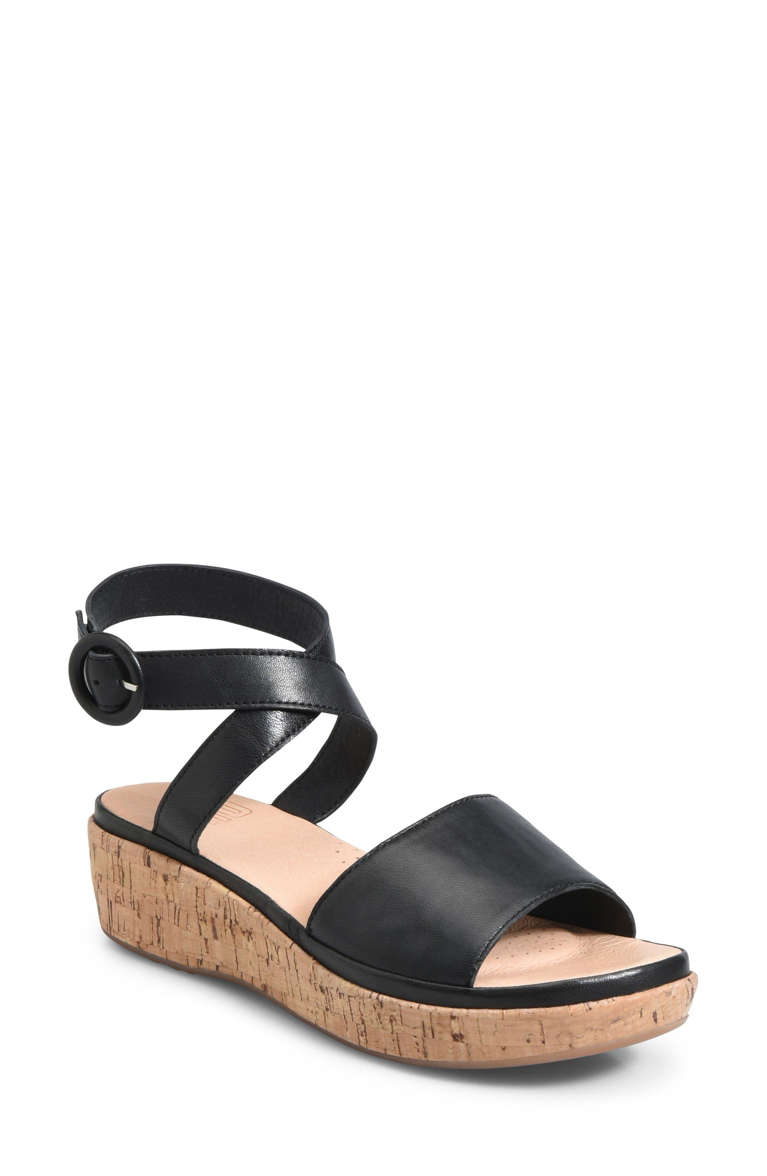 ONO Dreamy Platform Wedge Sandal, Main, color, BLACK LEATHER