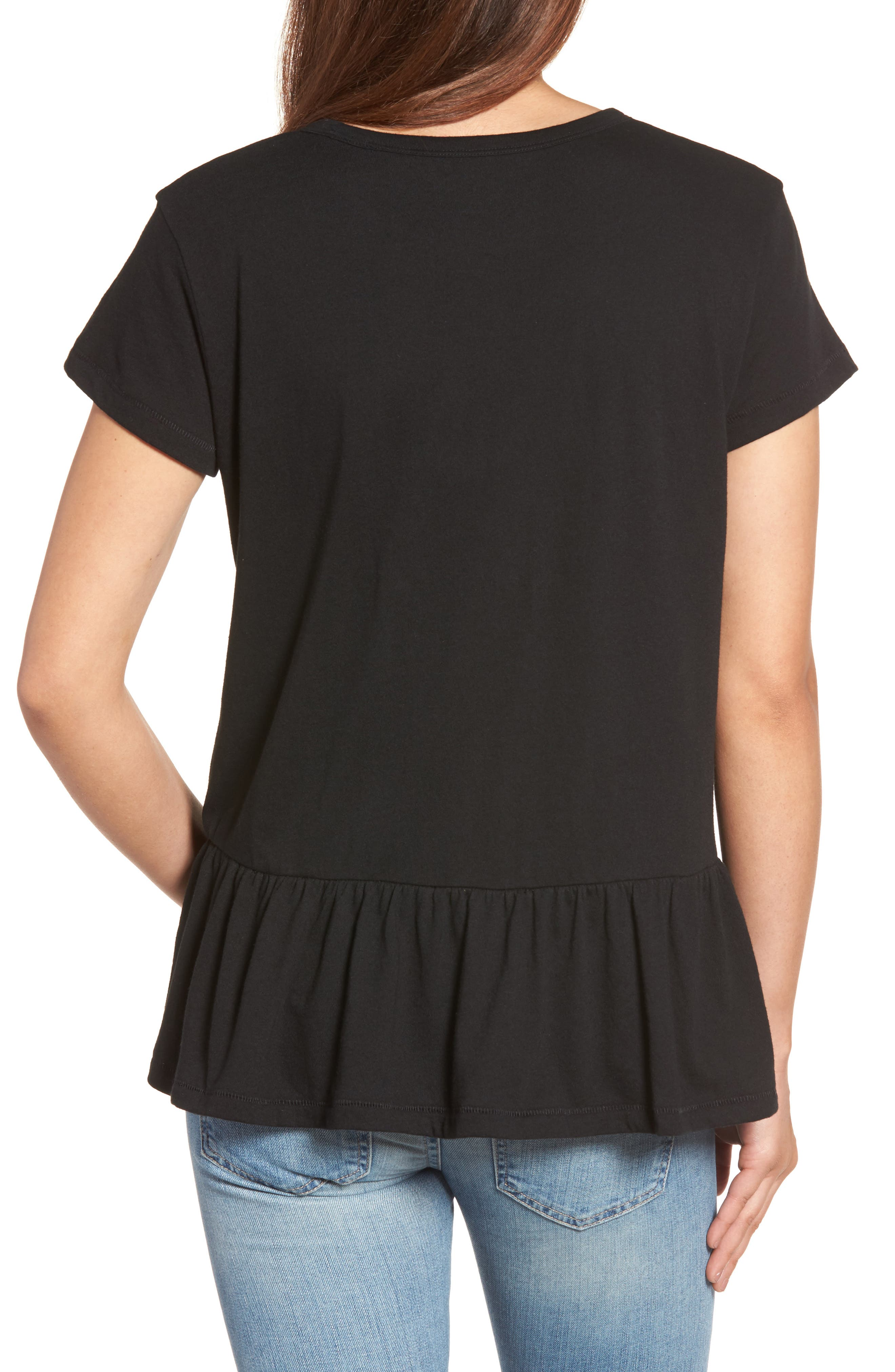 CASLON<SUP>®</SUP>, Peplum Tee, Alternate thumbnail 2, color, BLACK