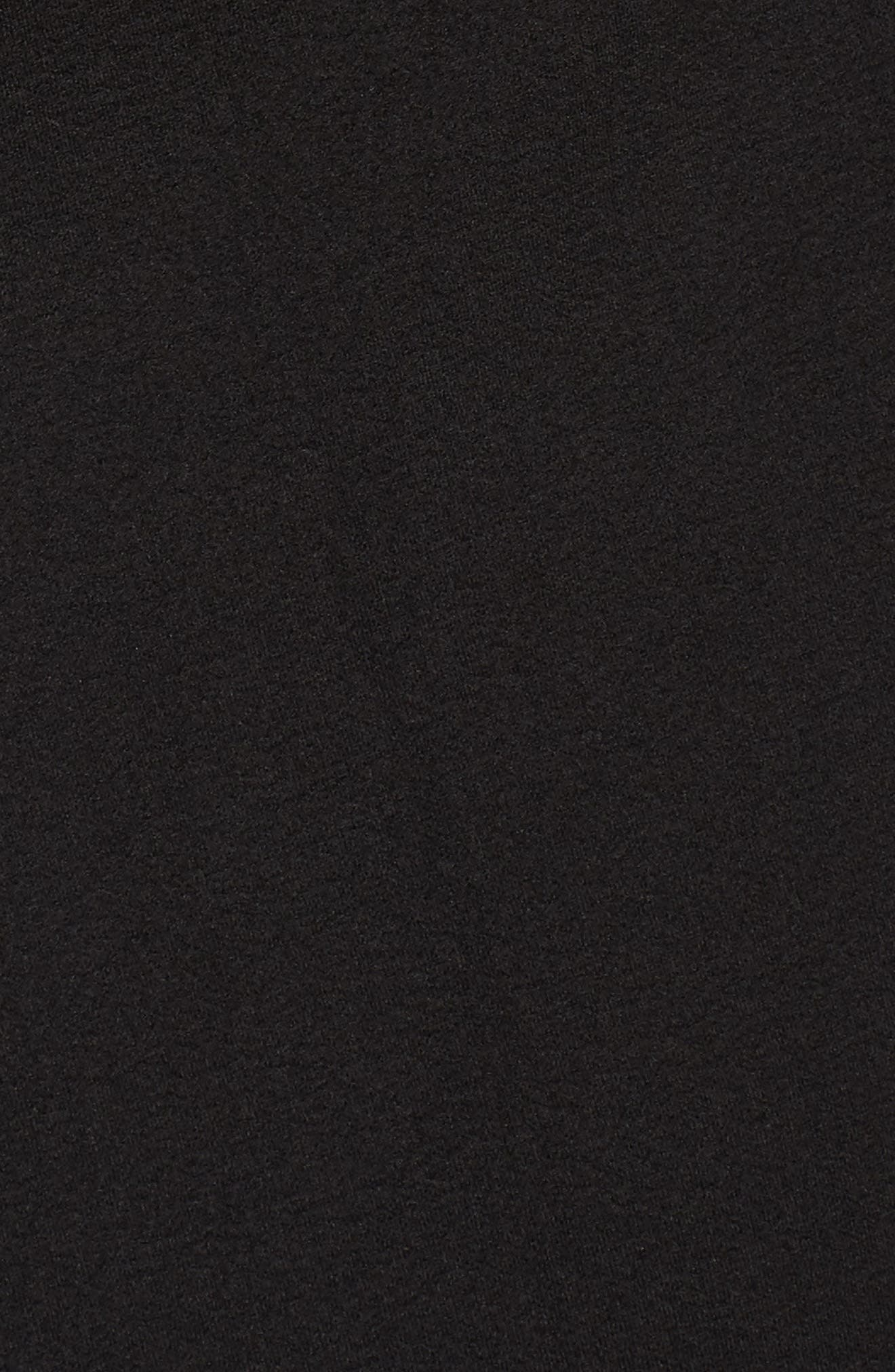 TAHARI, Ruched Surplice Crepe Sheath Dress, Alternate thumbnail 6, color, BLACK