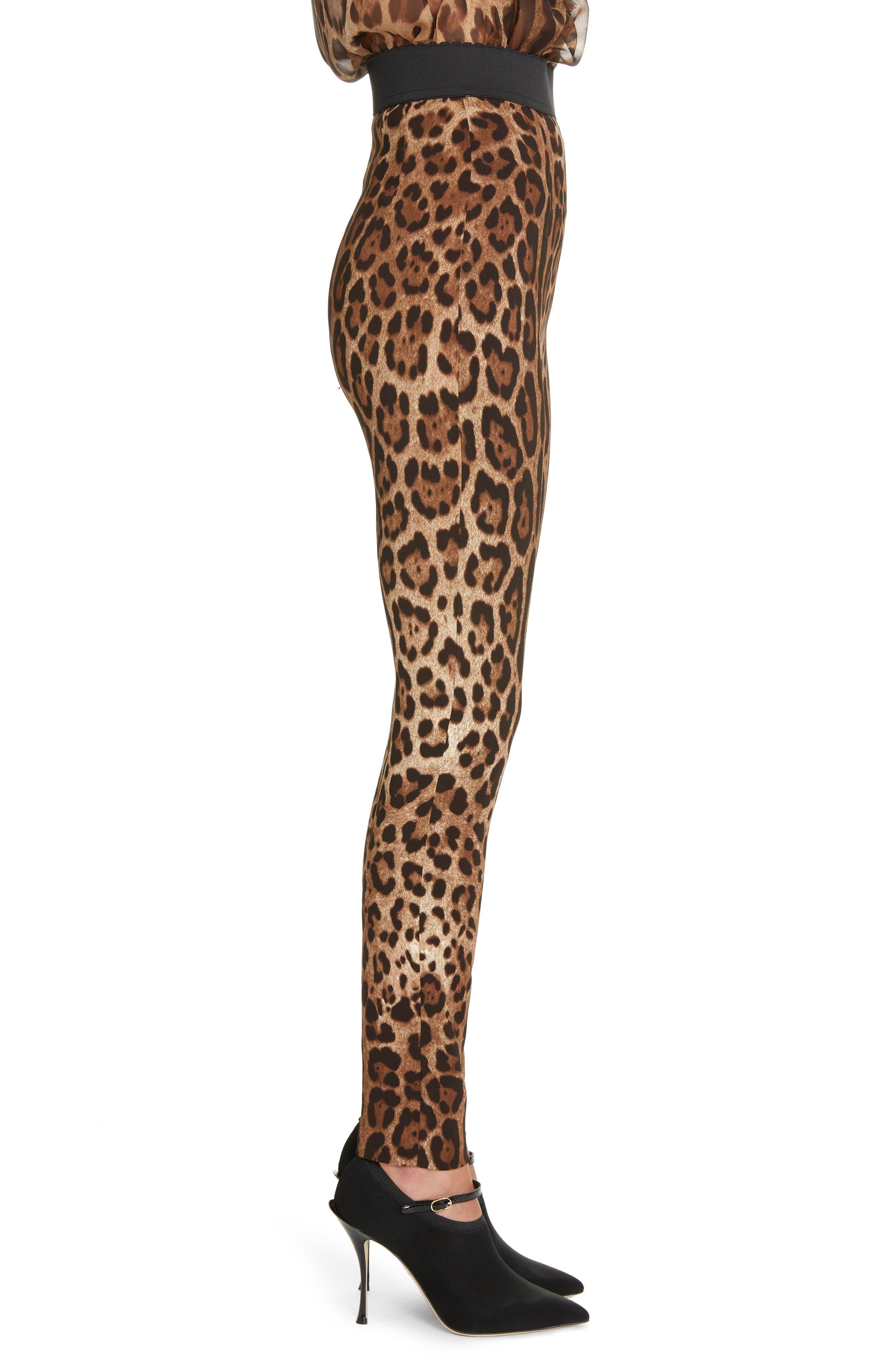 DOLCE&GABBANA, Leopard Print Cady Leggings, Alternate thumbnail 3, color, LEO