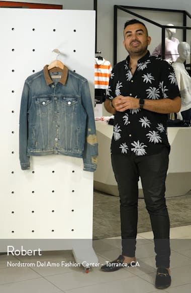 Iren Slim Fit Denim Jacket with Leather Collar, sales video thumbnail