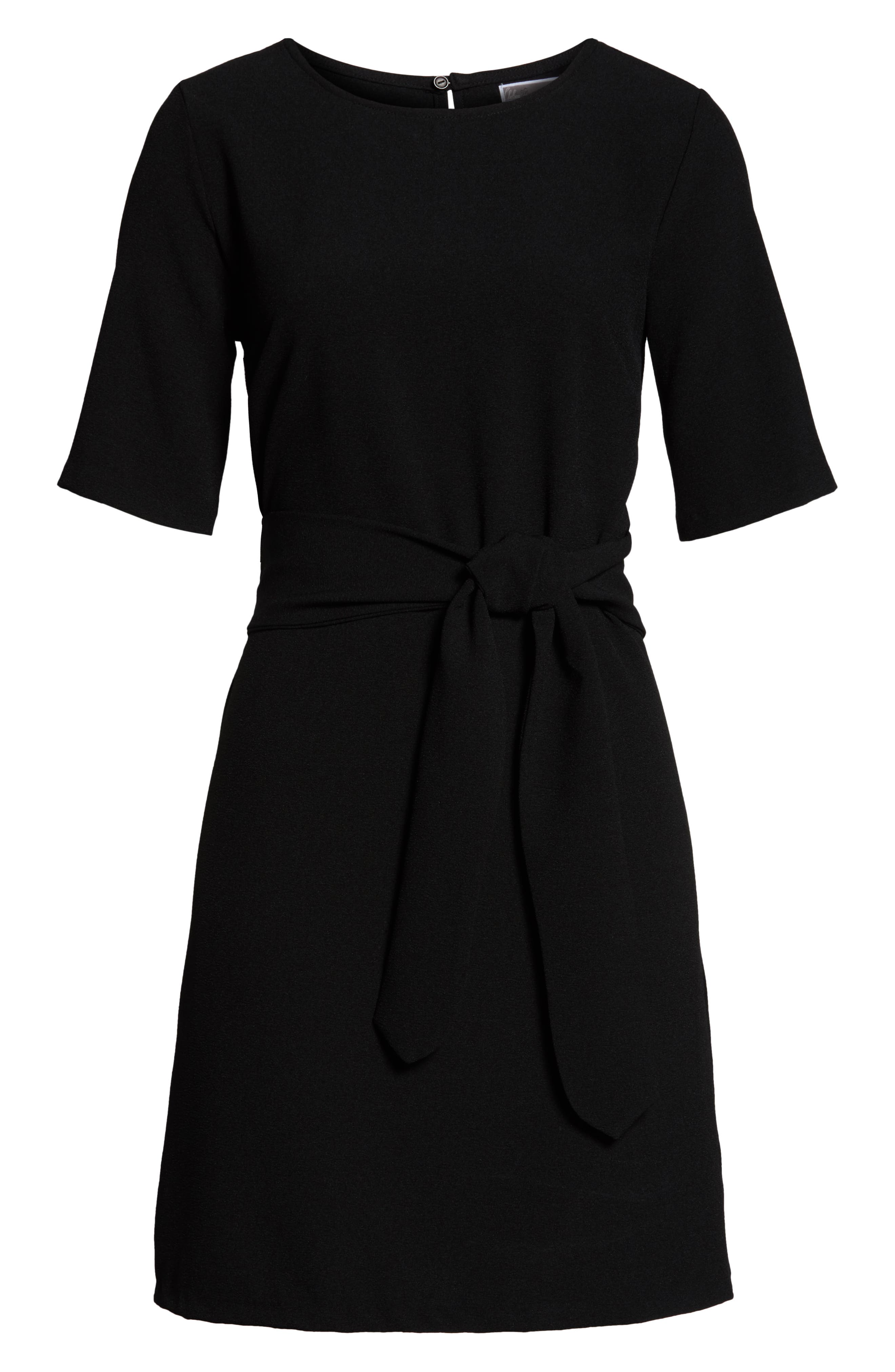 CHELSEA28, Front Tie Shift Dress, Alternate thumbnail 8, color, BLACK