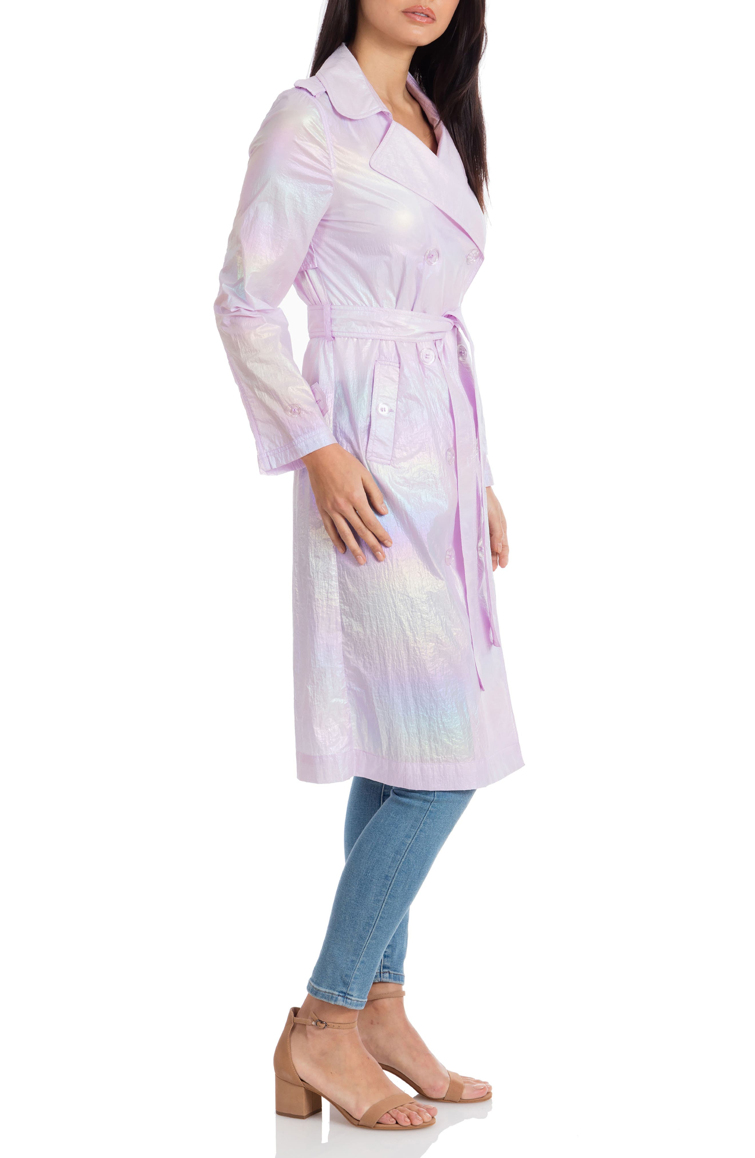 AVEC LES FILLES, Iridescent Trench Coat, Alternate thumbnail 3, color, IRIDESCENT