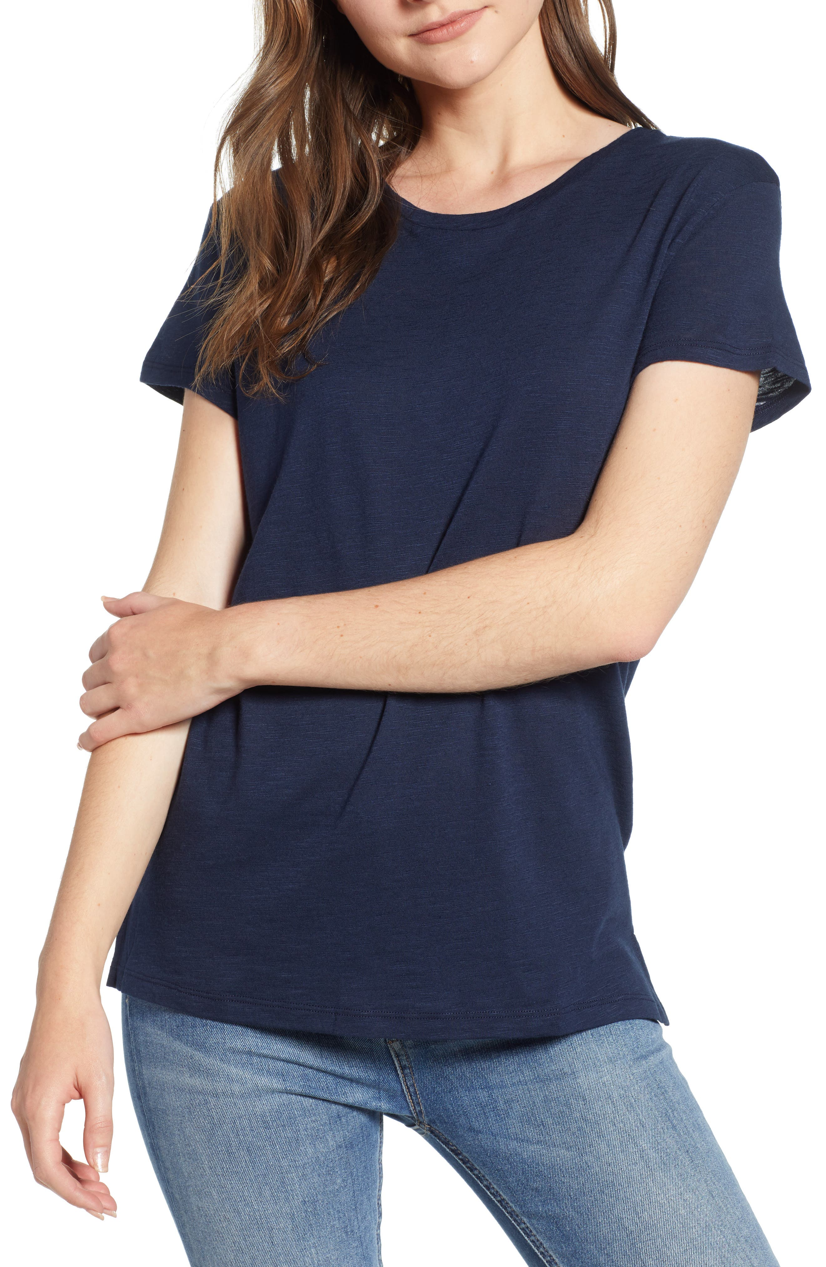 AMOUR VERT, Leif Slub Tee, Main thumbnail 1, color, DARK NAVY
