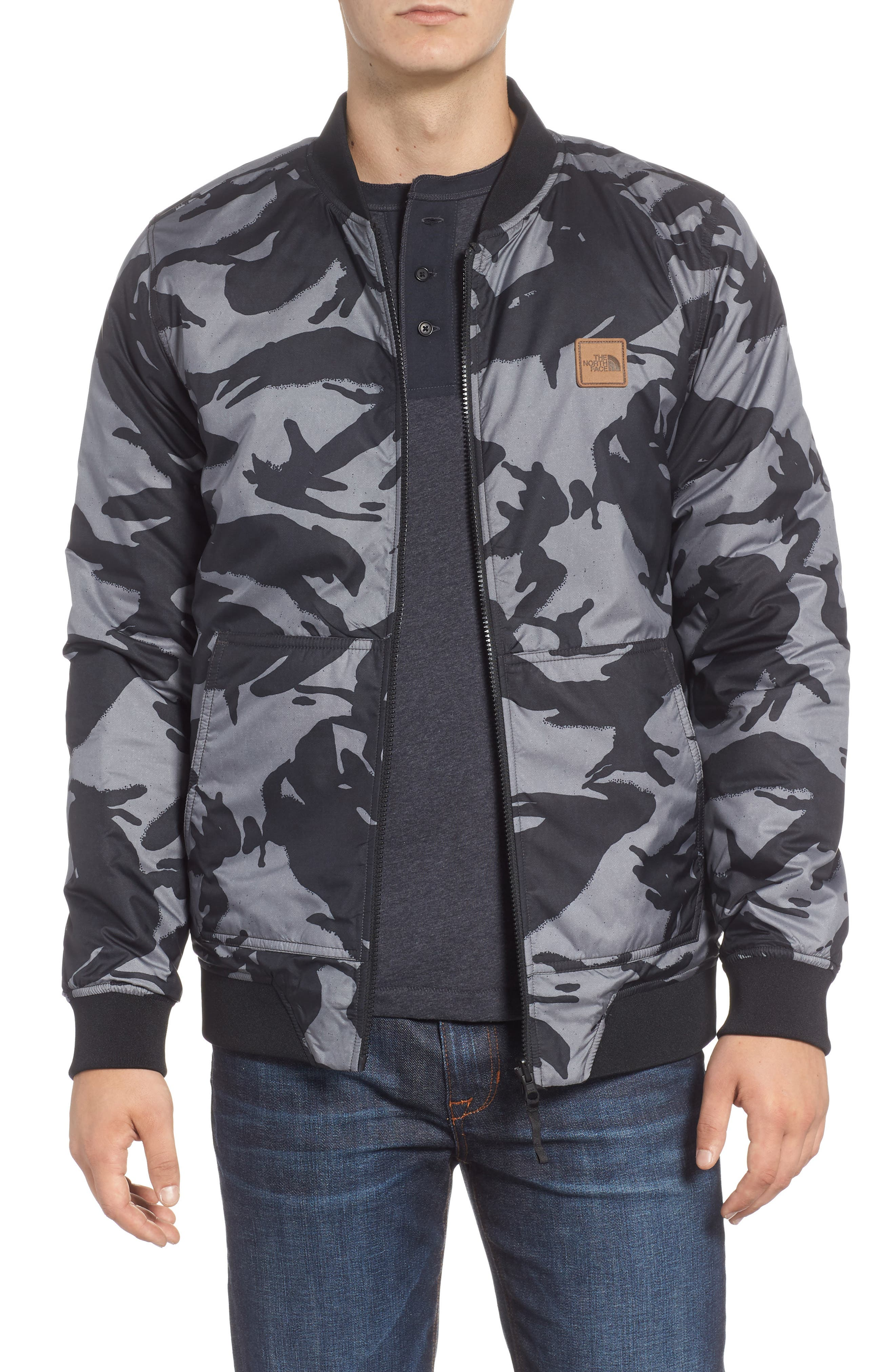 THE NORTH FACE, Jester Reversible Bomber Jacket, Alternate thumbnail 2, color, 001